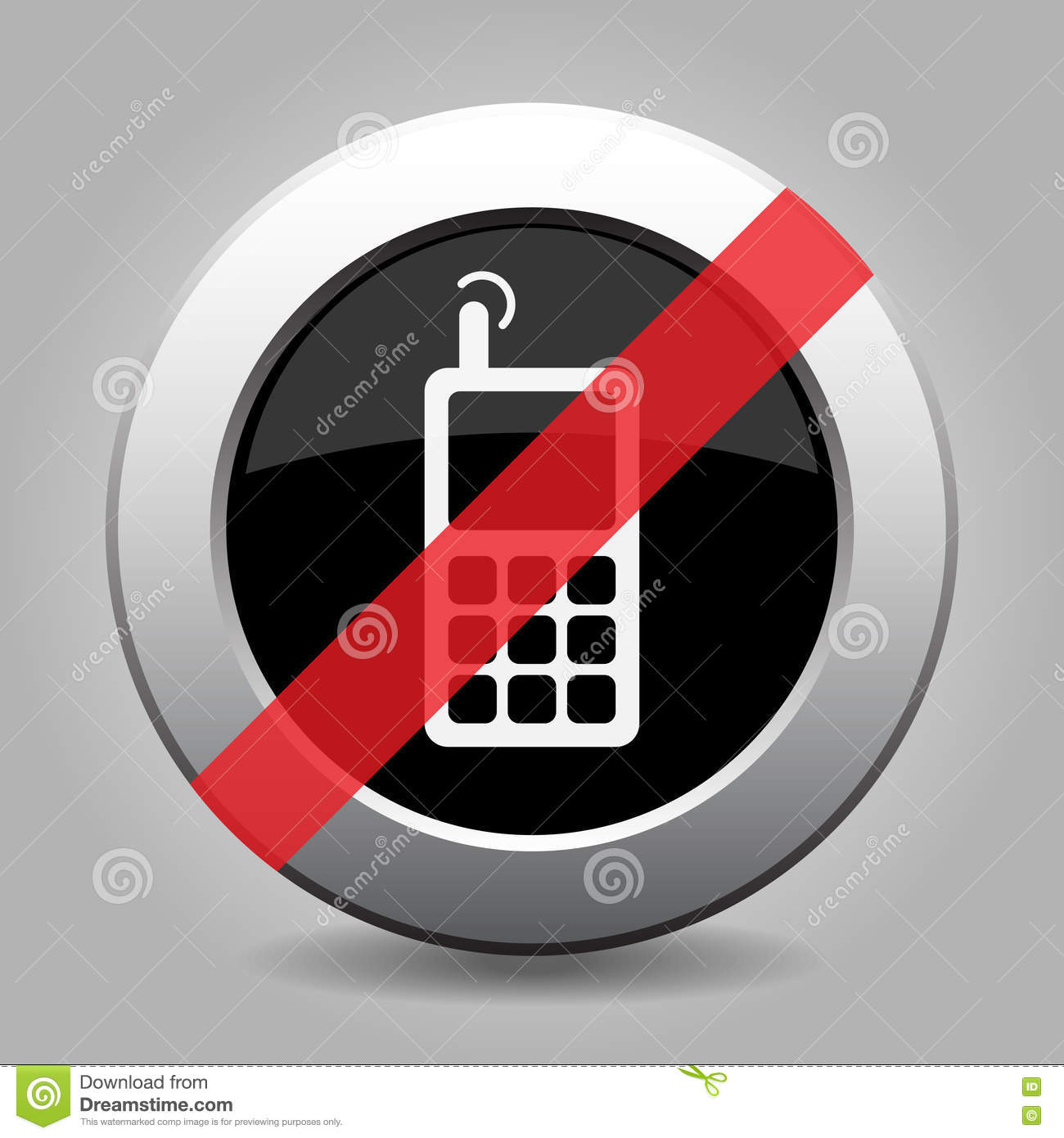 Gray chrome button - no old mobile phone