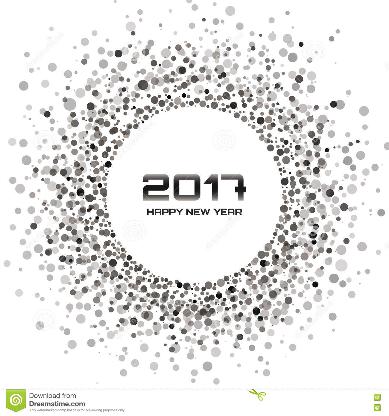 gray circle new year 2017 frame on white background