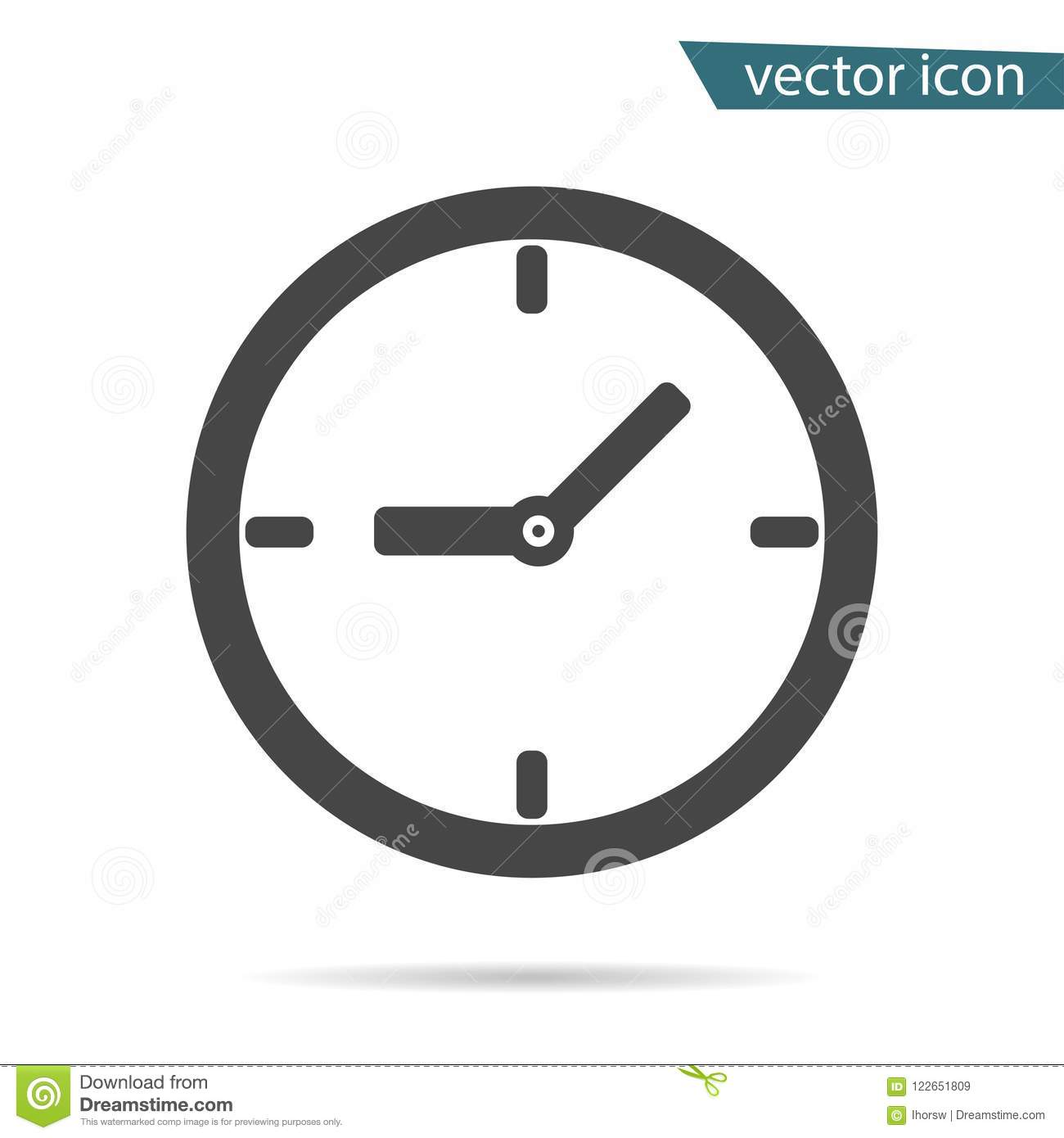 Gray clock icon isolated on background. Modern simple flat time sign. Business, internet concept. Tr