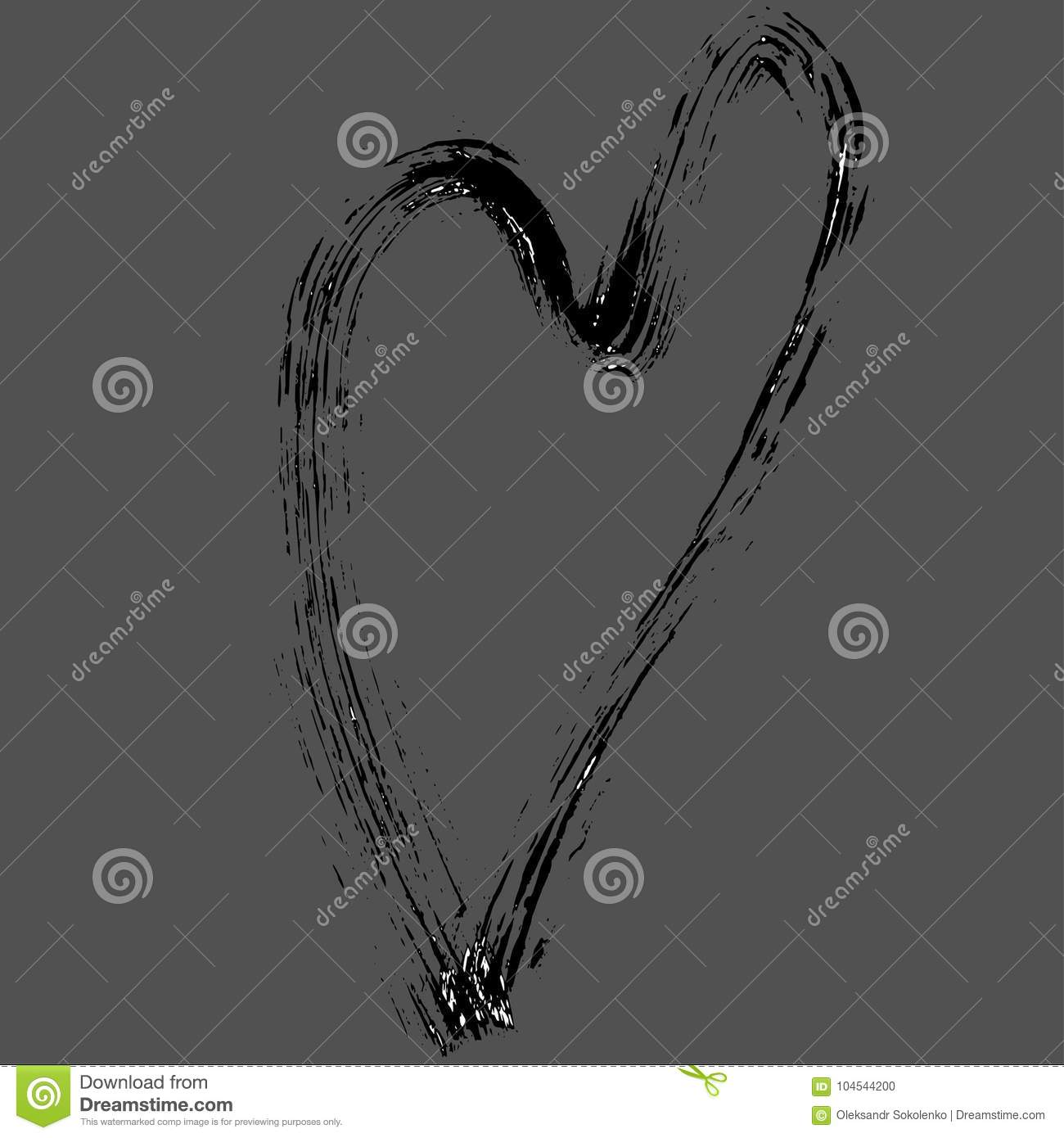 Heart Shape Design For Love Symbols Hand Drawn Grunge Texture