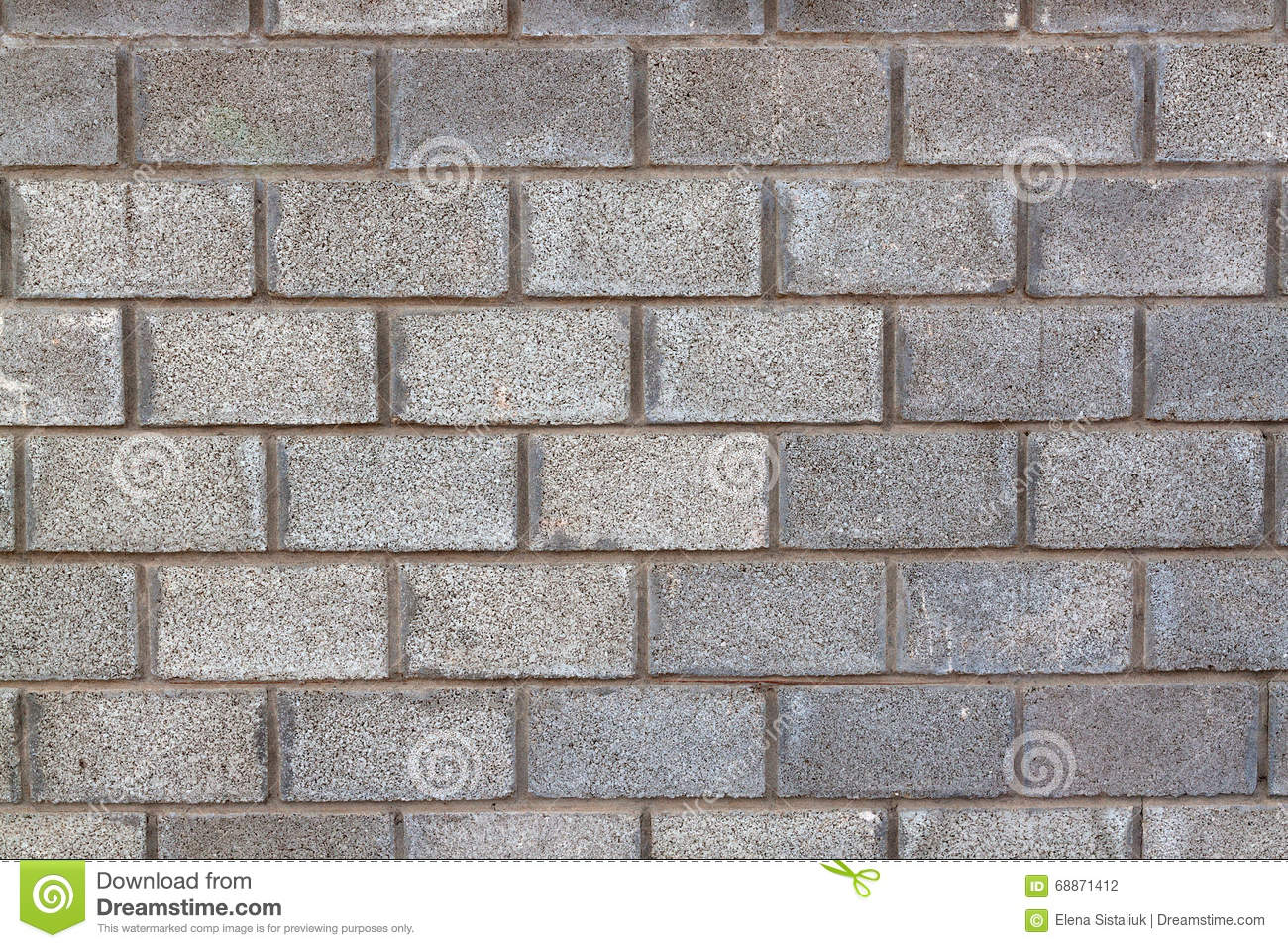 Seamless Block Wall : Gray concrete blocks wall background texture stock photo