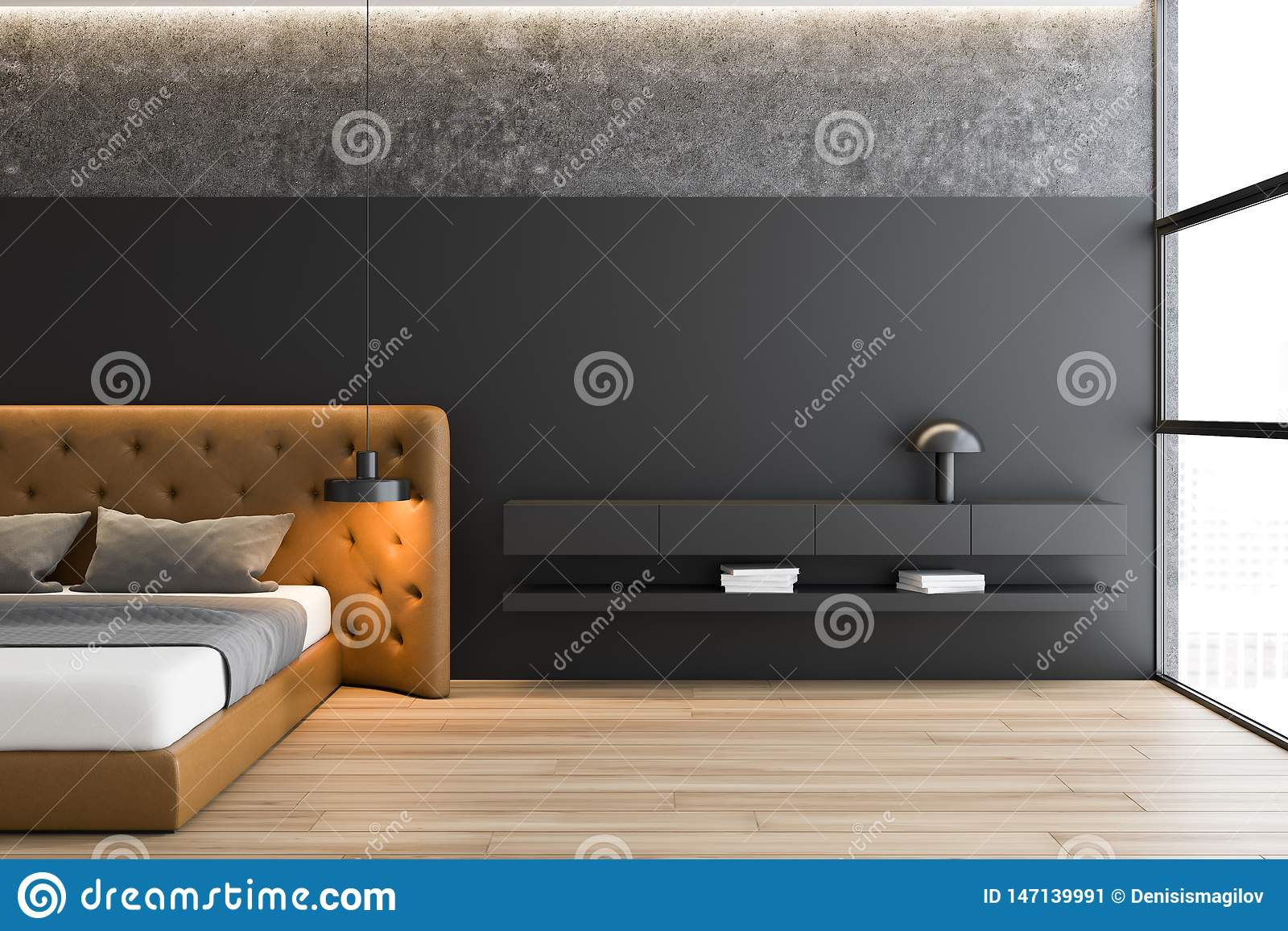 Gray And Concrete Master Bedroom With Brown Bed Stock Illustration Illustration Of Daylight Decoration 147139991