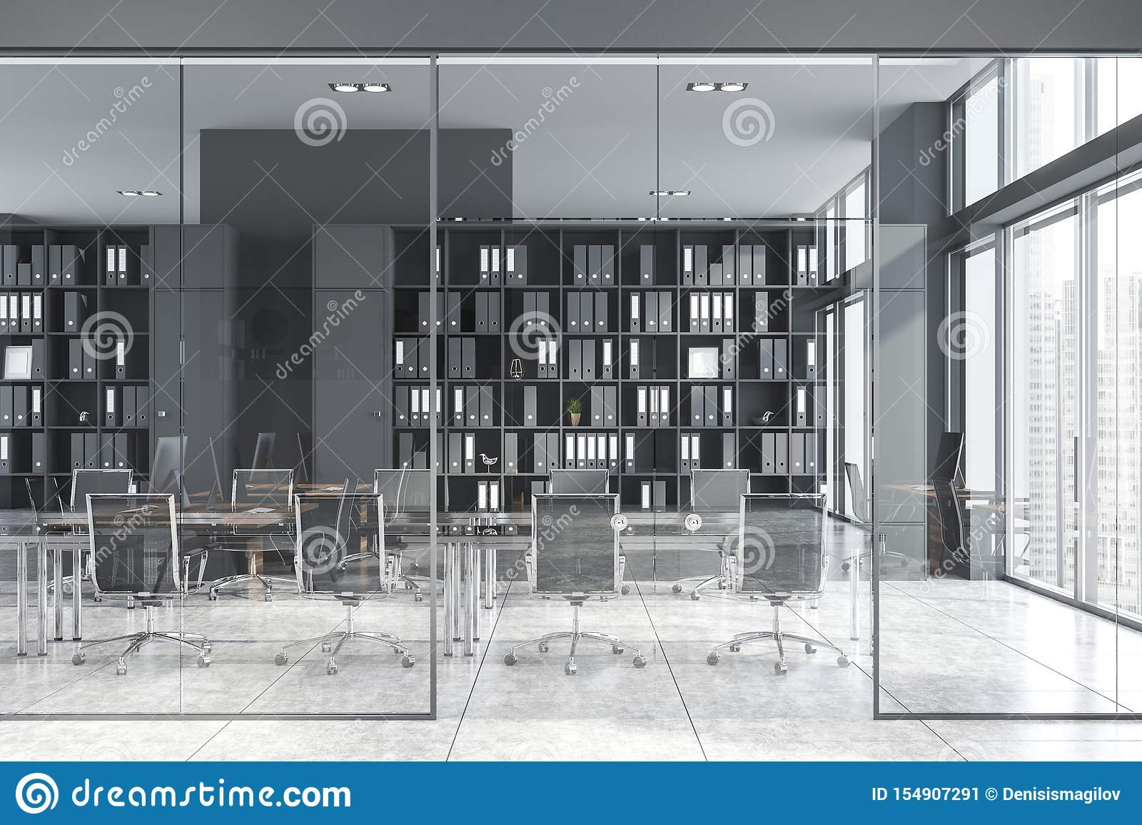 Gray Conference Room Interior With Glass Doors Stock Illustration Illustration Of Communication Management 154907291
