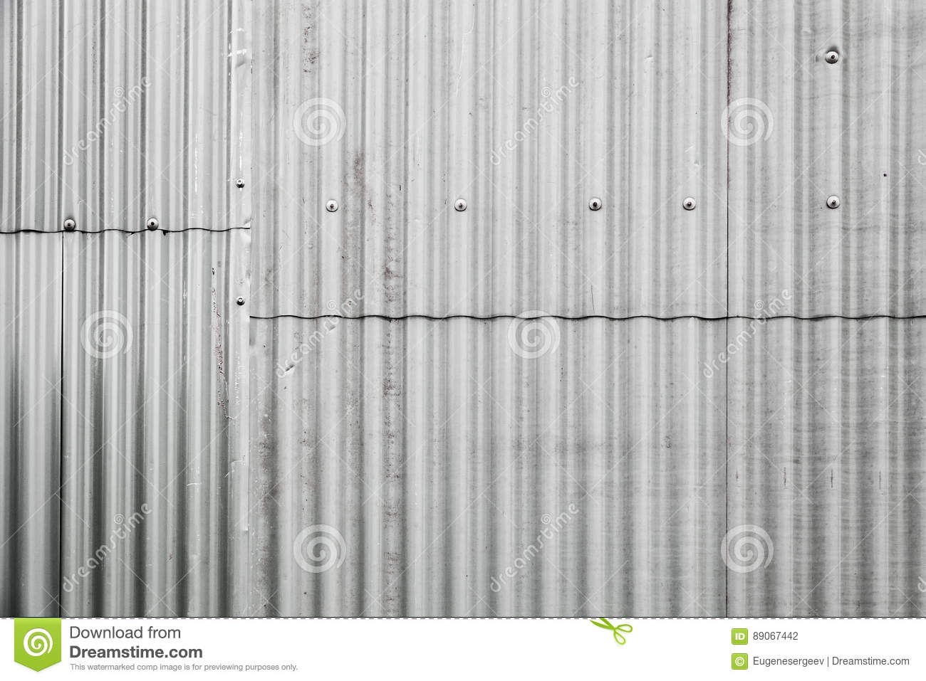 Gray Corrugated Metal Fence Texture Stock Photo - Image of