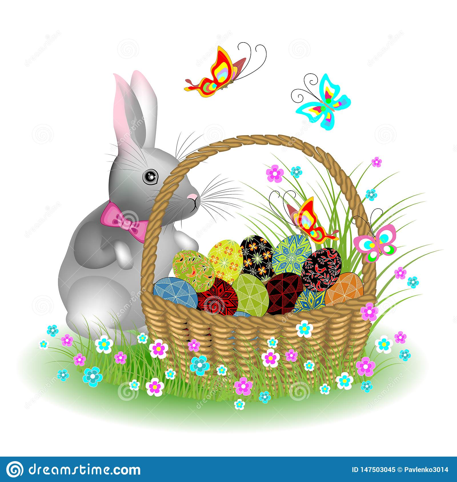 Gray cute rabbit near a basket with Easter eggs. Spring flowers and butterflies. The symbol of Easter in the culture of many