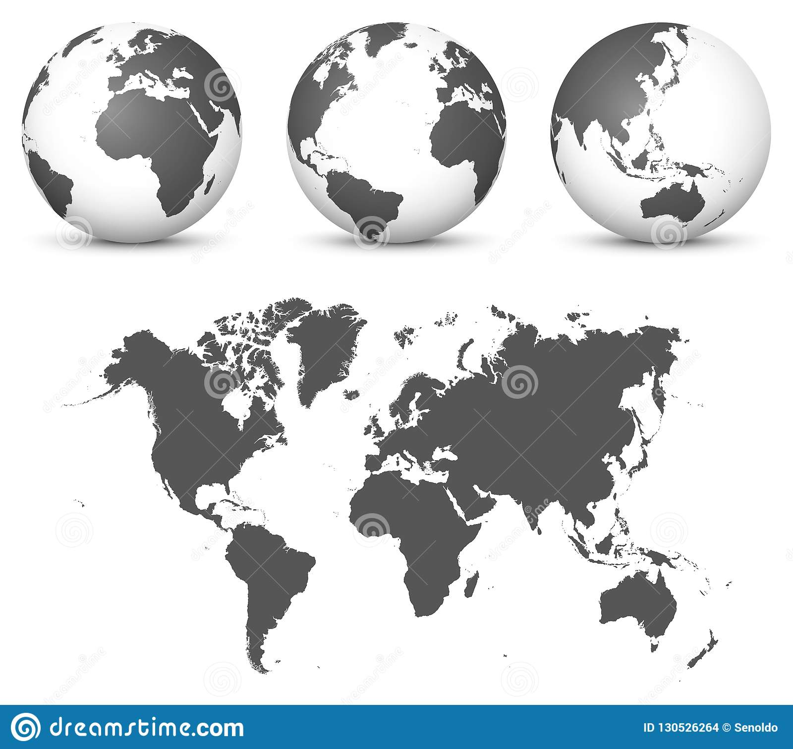 Gray 3d Globe Earth Vector Set With Undistorted 2d World Map In