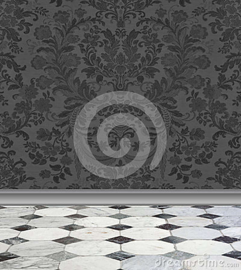 Gray Damask Wall and Marble Floor
