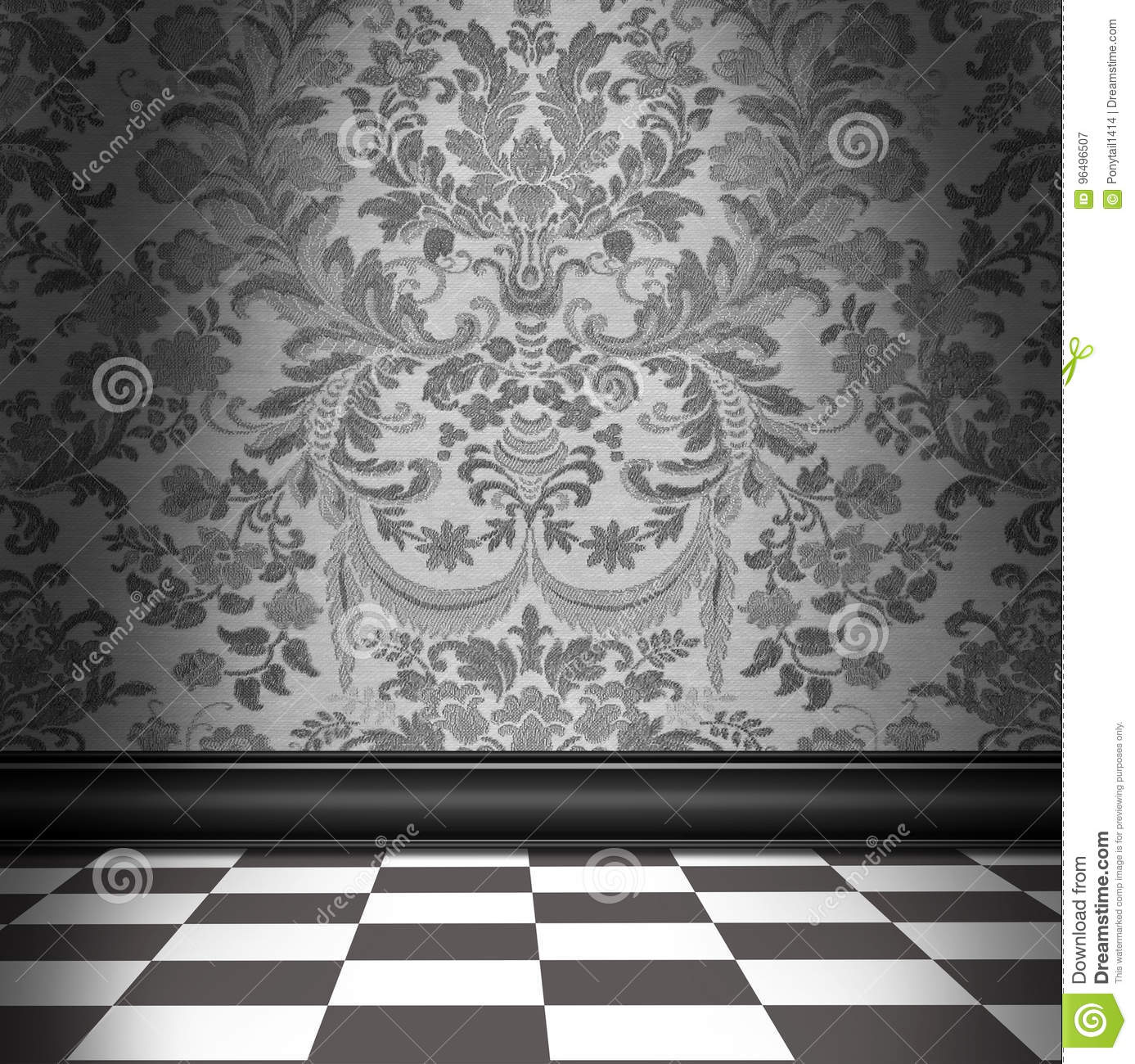 Gray Damask Wallpaper With Gray & White Checkerboard Tile Floor