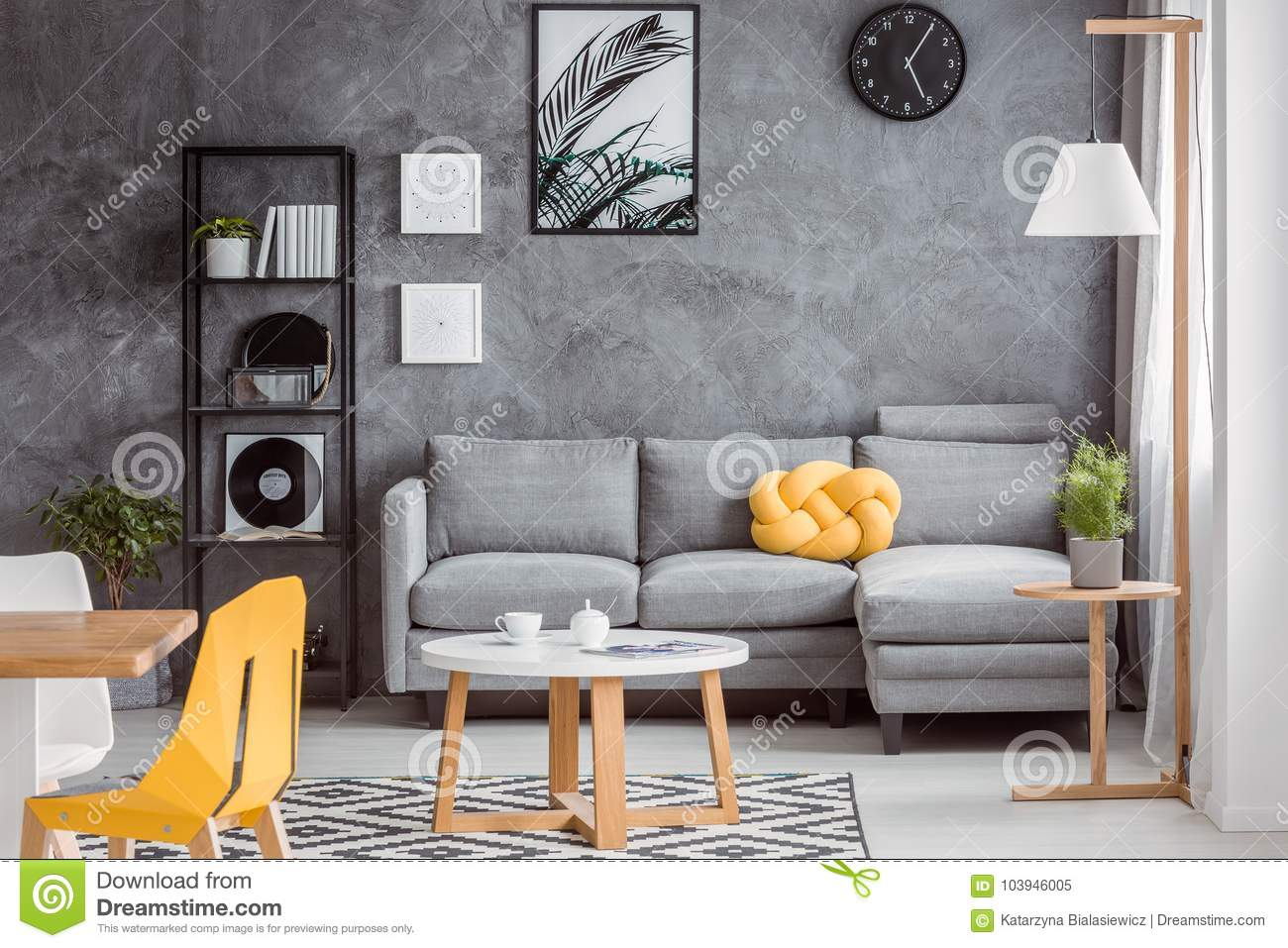 Gray Decor And Yellow Accessories Stock Image Image Of Books