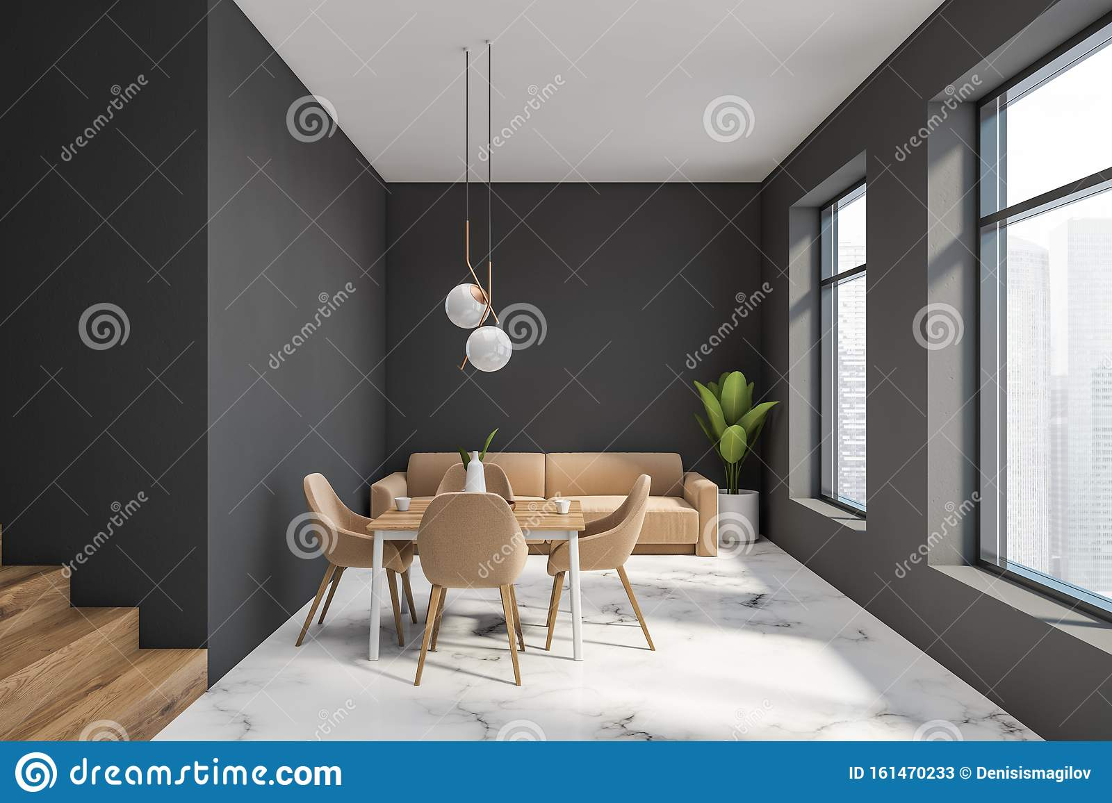 Gray Dining Room With Beige Sofa Stock Illustration Illustration Of Decoration Beige 161470233