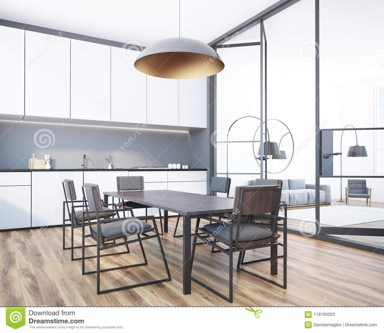 Gray Dining Room Corner With A Long Table Chairs Standing Near White Kitchen Countertops Glass Doors Living To The Right