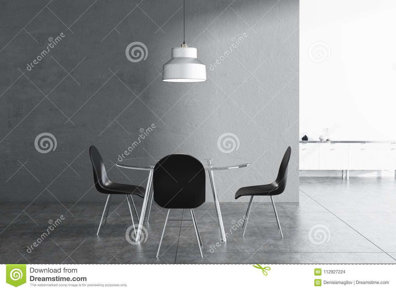 Gray Dining Room Interior Black Chairs