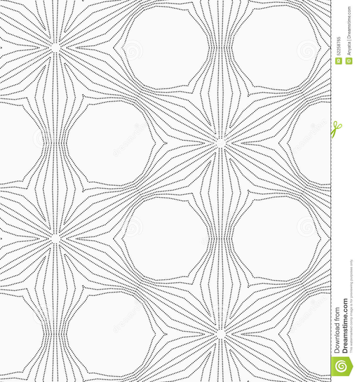 gray dotted six pedal flower grid stock vector illustration of
