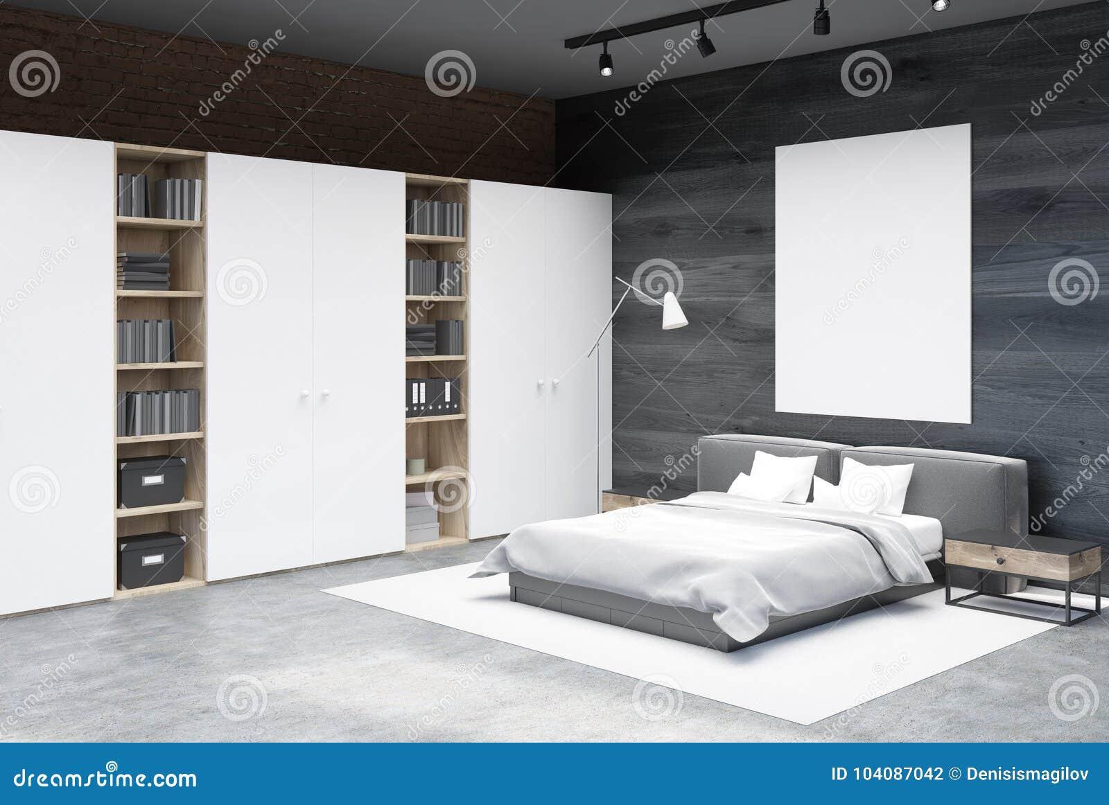 Angolo Del Letto : Gray ed angolo della camera da letto del mattone manifesto