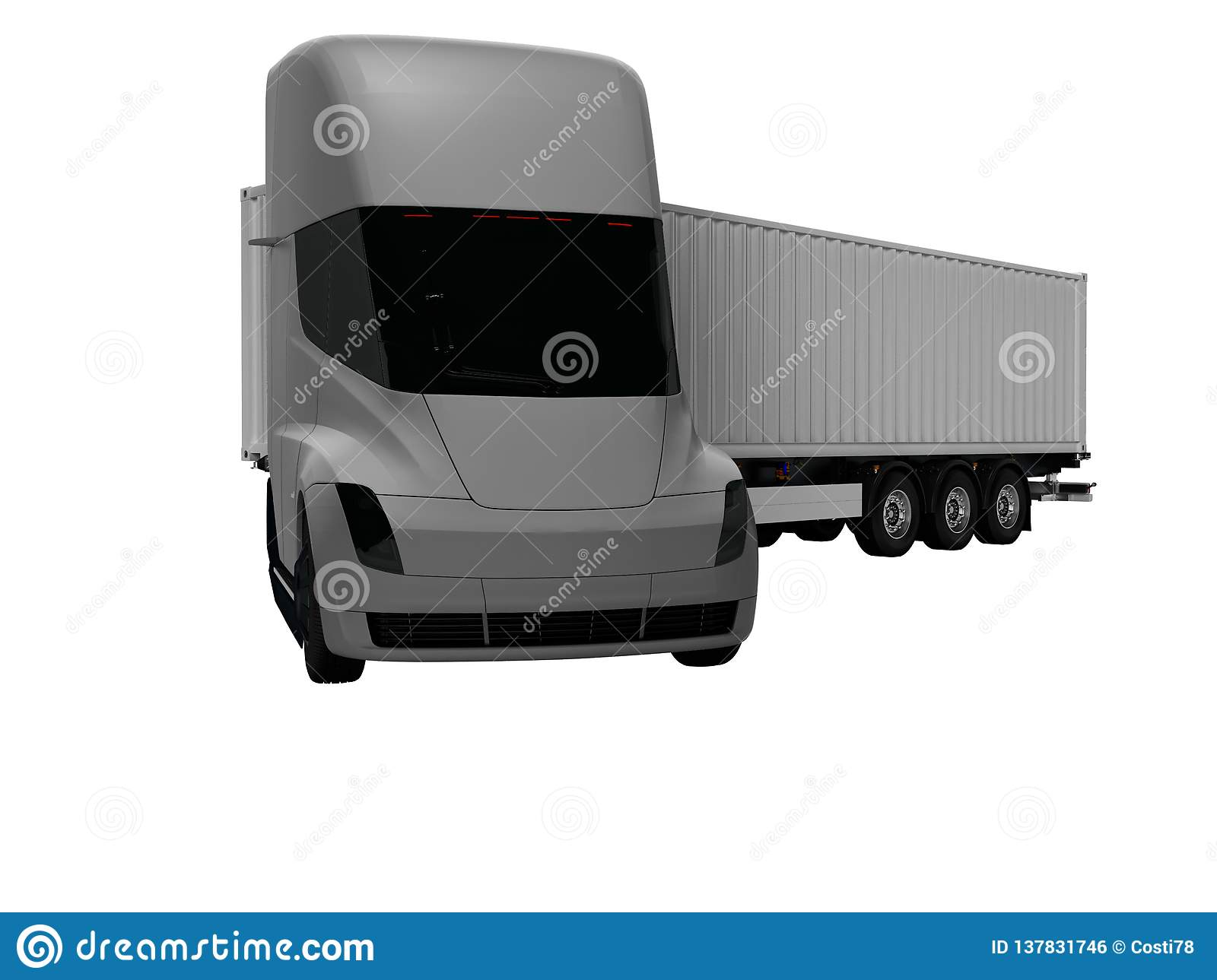 Gray electric tractor with gray trailer for moving goods to different countries 3d render on white background no shadow