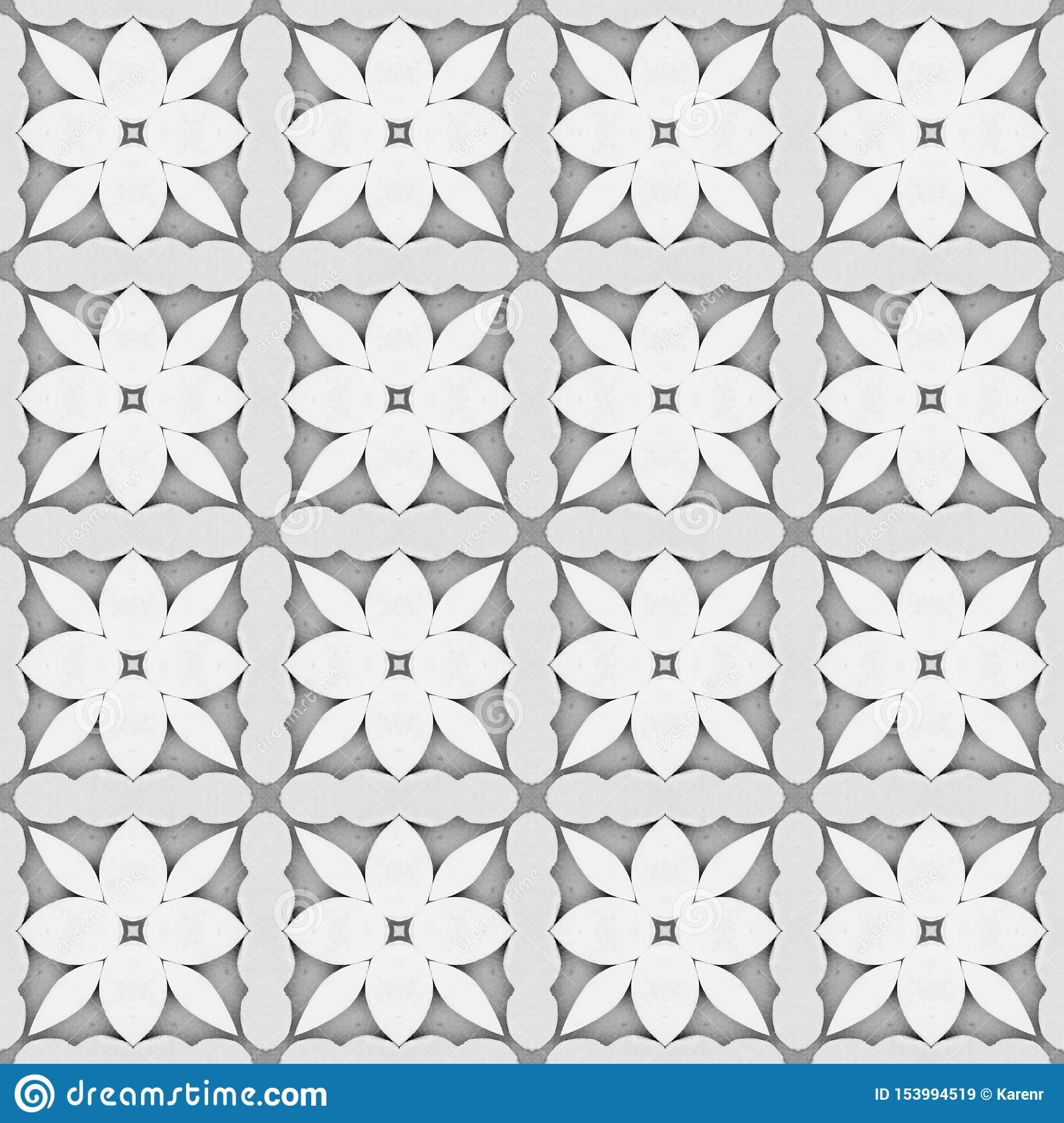 Gray flower mosaic detailed seamless textured pattern background