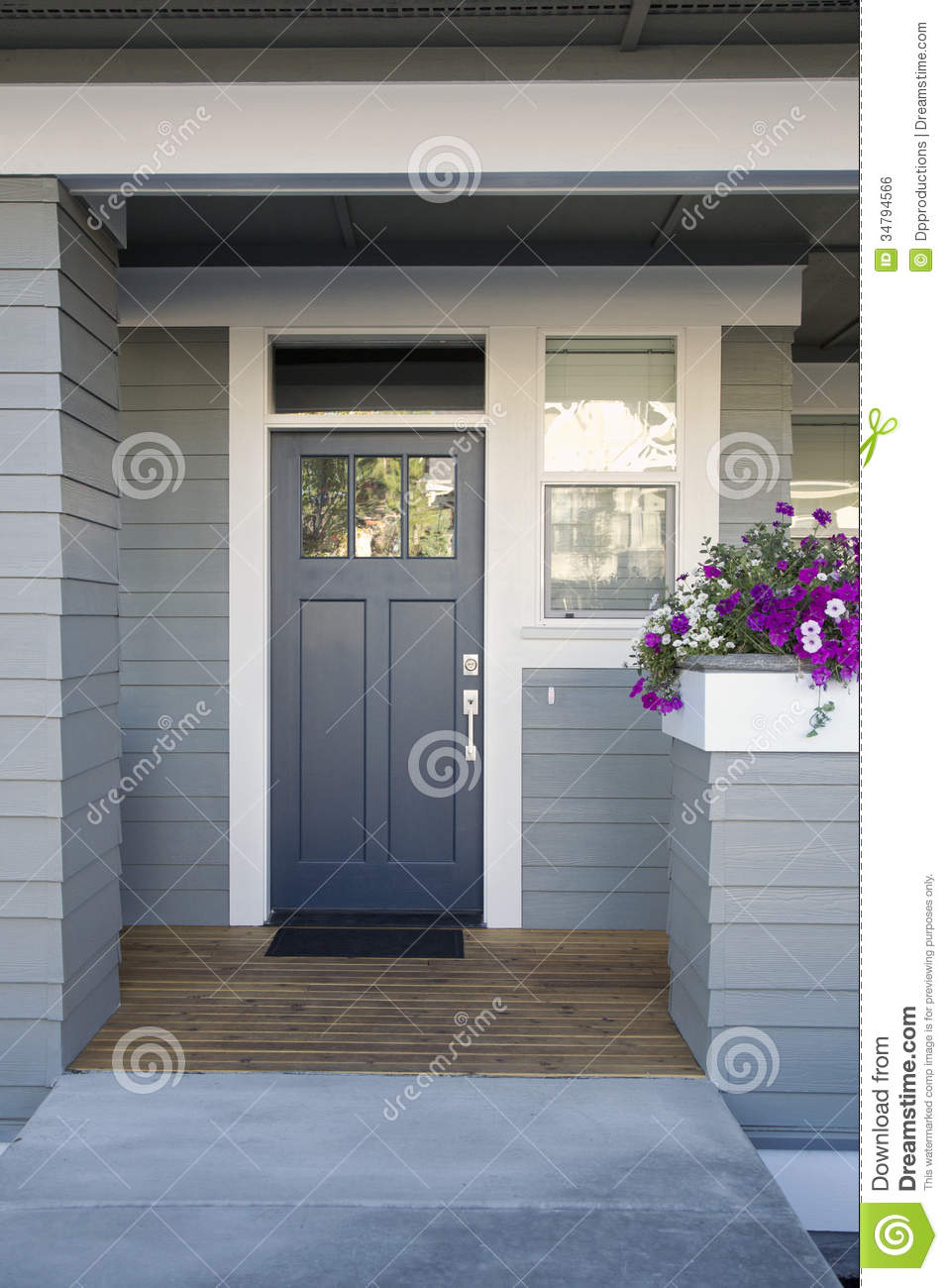 Gray Front Door Of A Home Stock Photo Image Of Facade