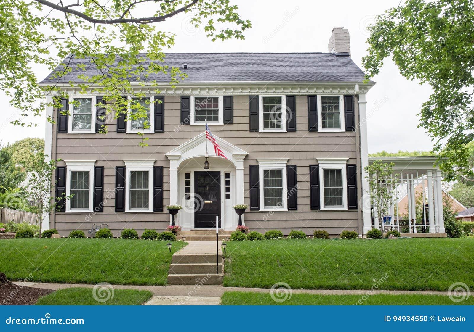 Gray Georgian Colonial Home