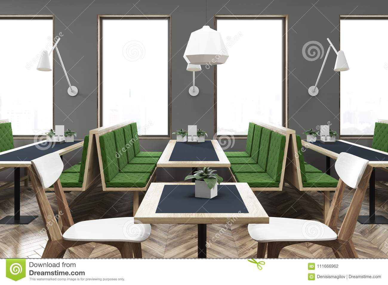 Gray and green cafe interior side view stock illustration