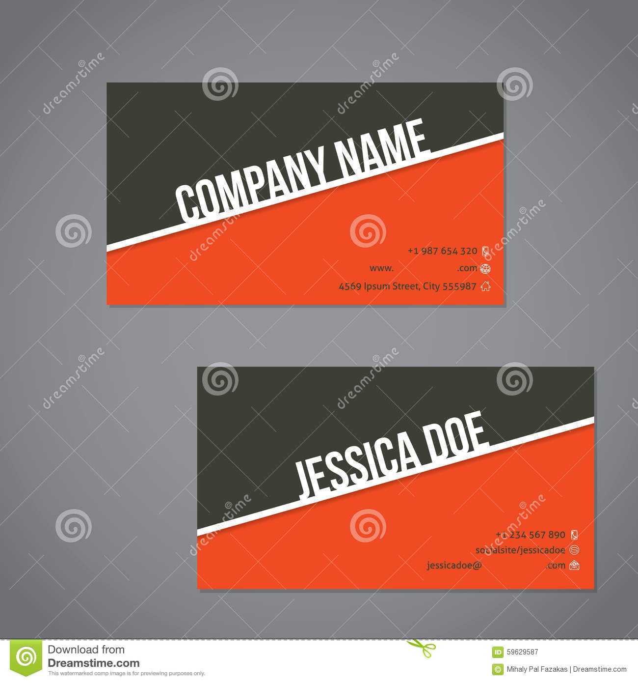 Gray green and orange color business card with white stripe stock download comp colourmoves