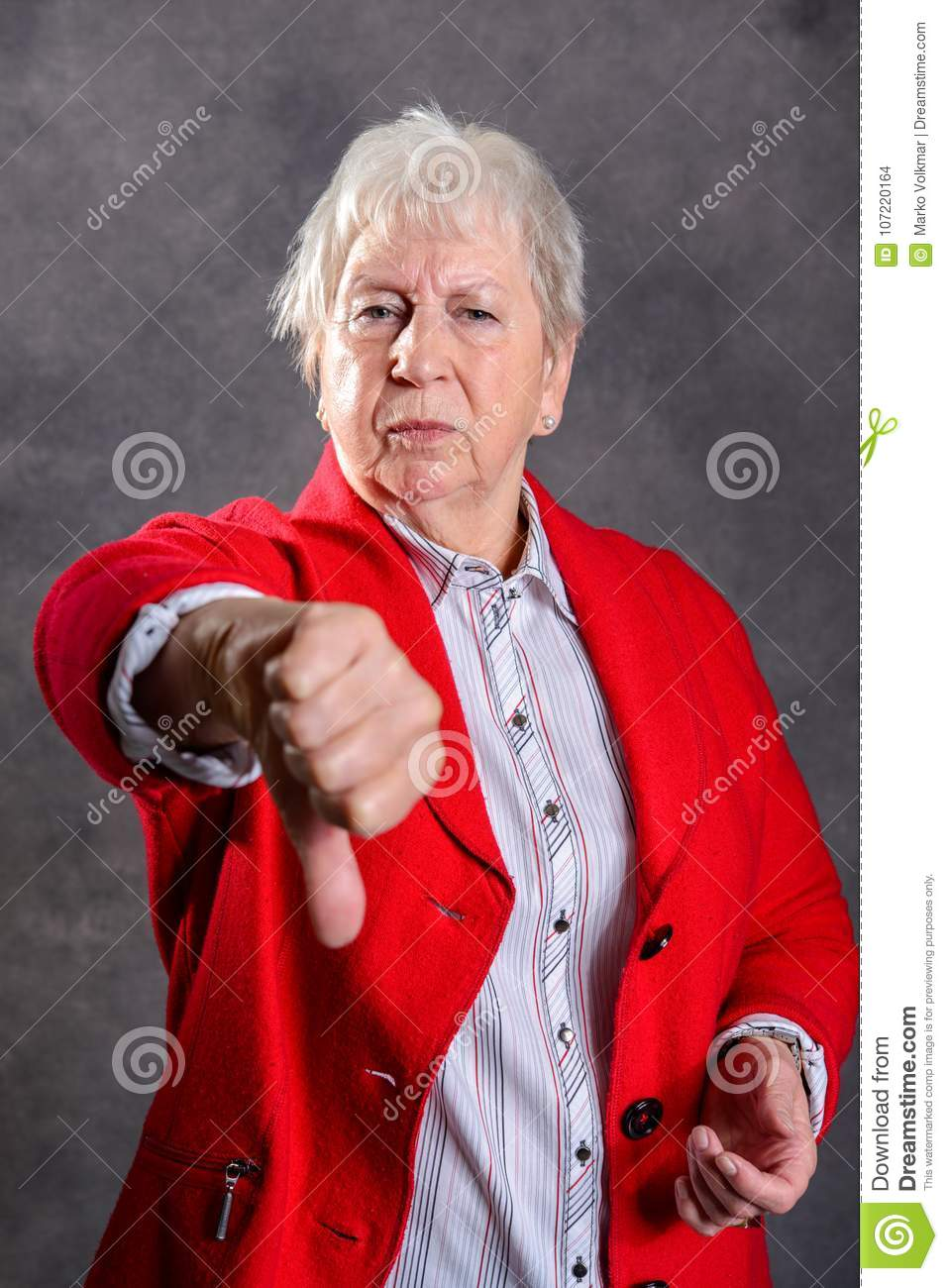 Gray Hairy Elderly Woman Showing Thumb Down Stock Photo ...