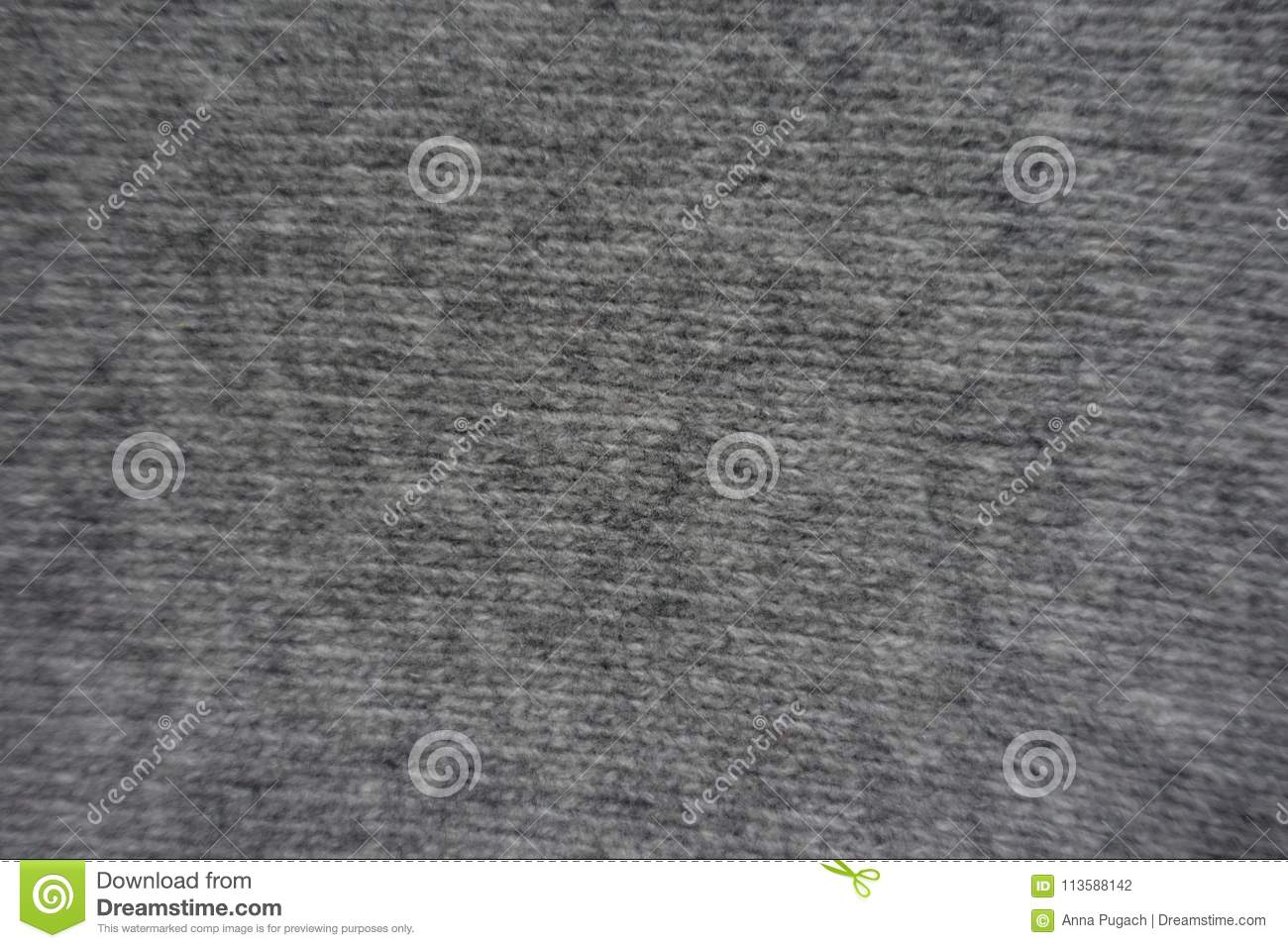 Gray Handmade Stocking Stitch Knitted Fabric From Above Stock Photo