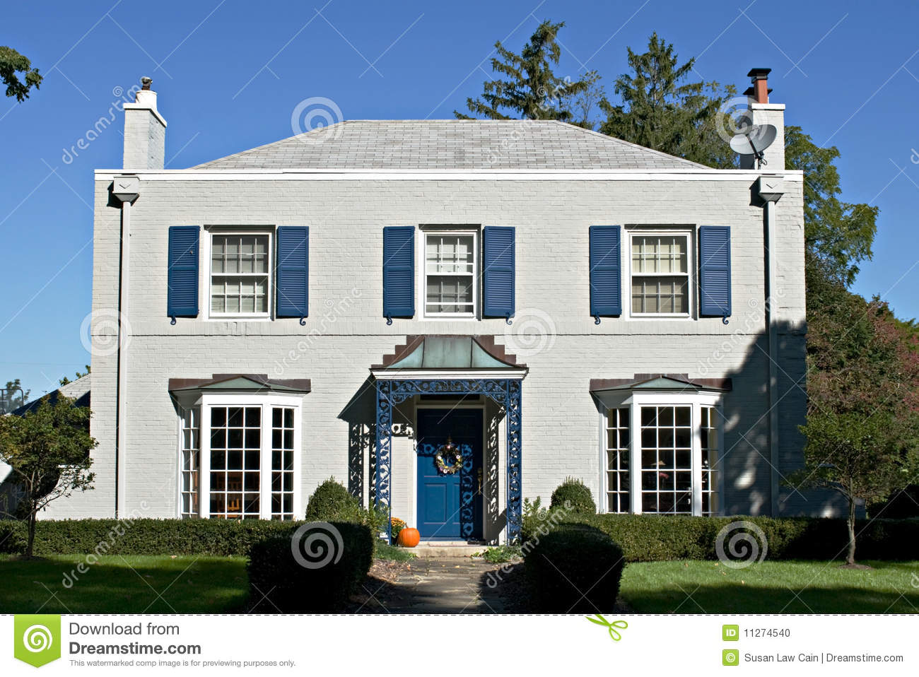 Gray House With Blue Accents Stock Photo Image 11274540