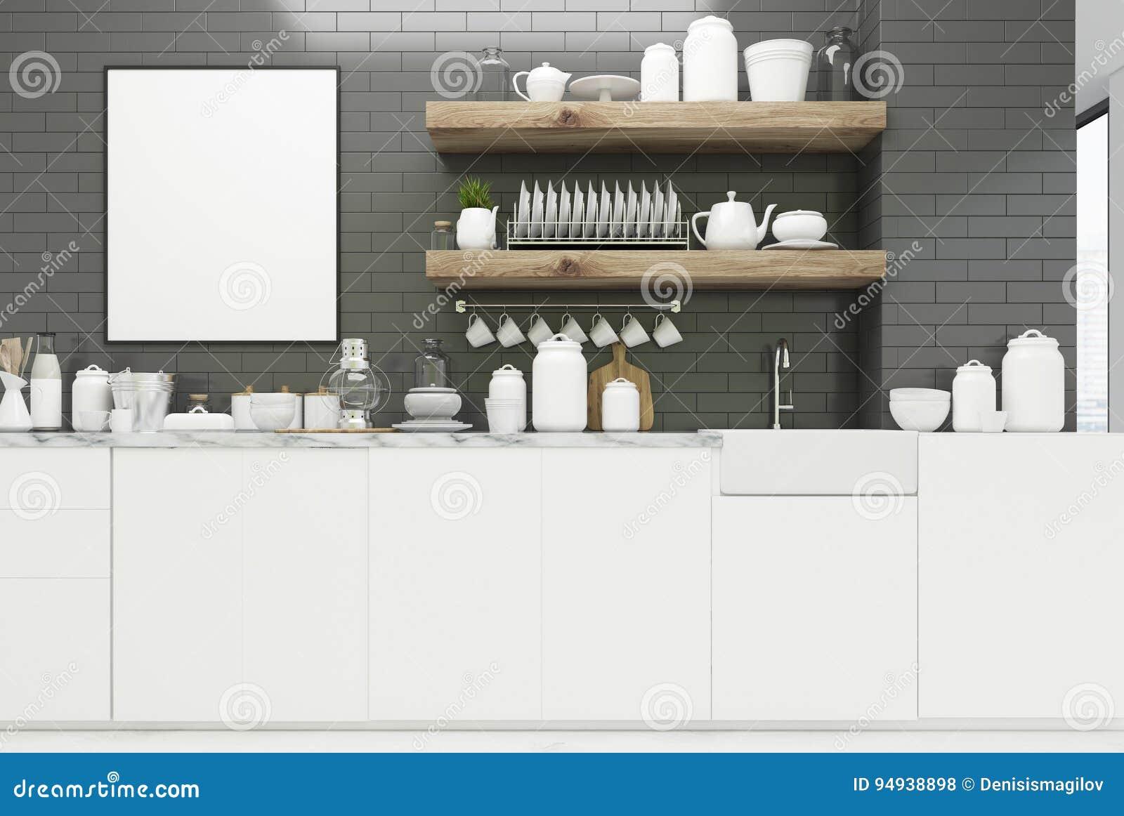 Gray Kitchen With Poster, Shelves Stock Illustration - Illustration ...