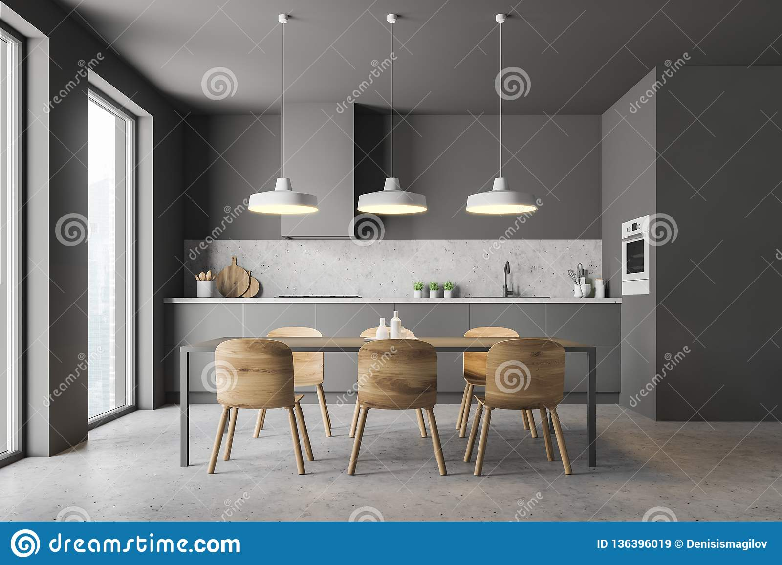 Gray Kitchen With Wooden Table Stock Illustration ...