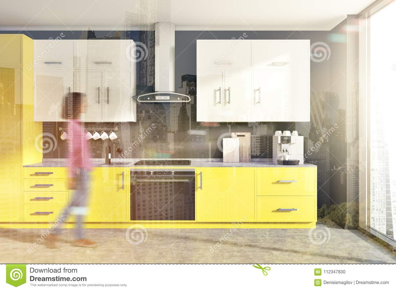 Modern kitchen interior with yellow and white counters black walls and a concrete floor a woman 3d rendering toned image double exposure blurred
