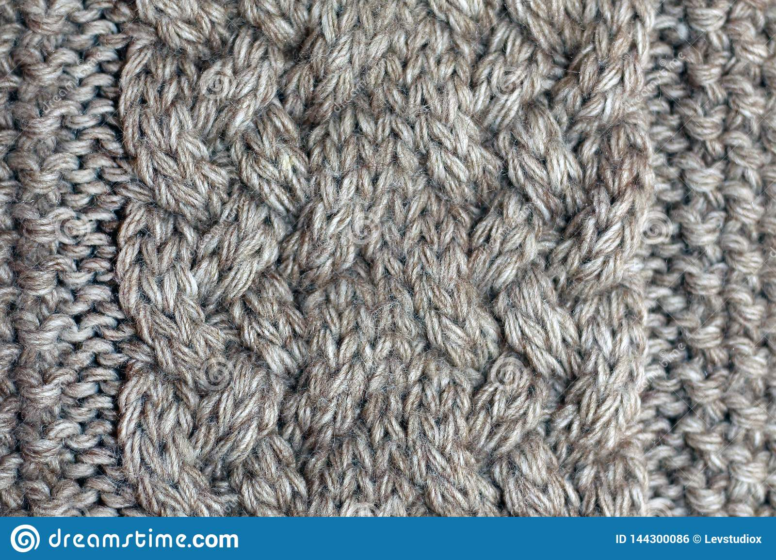 Gray knitted background medium thickness thread
