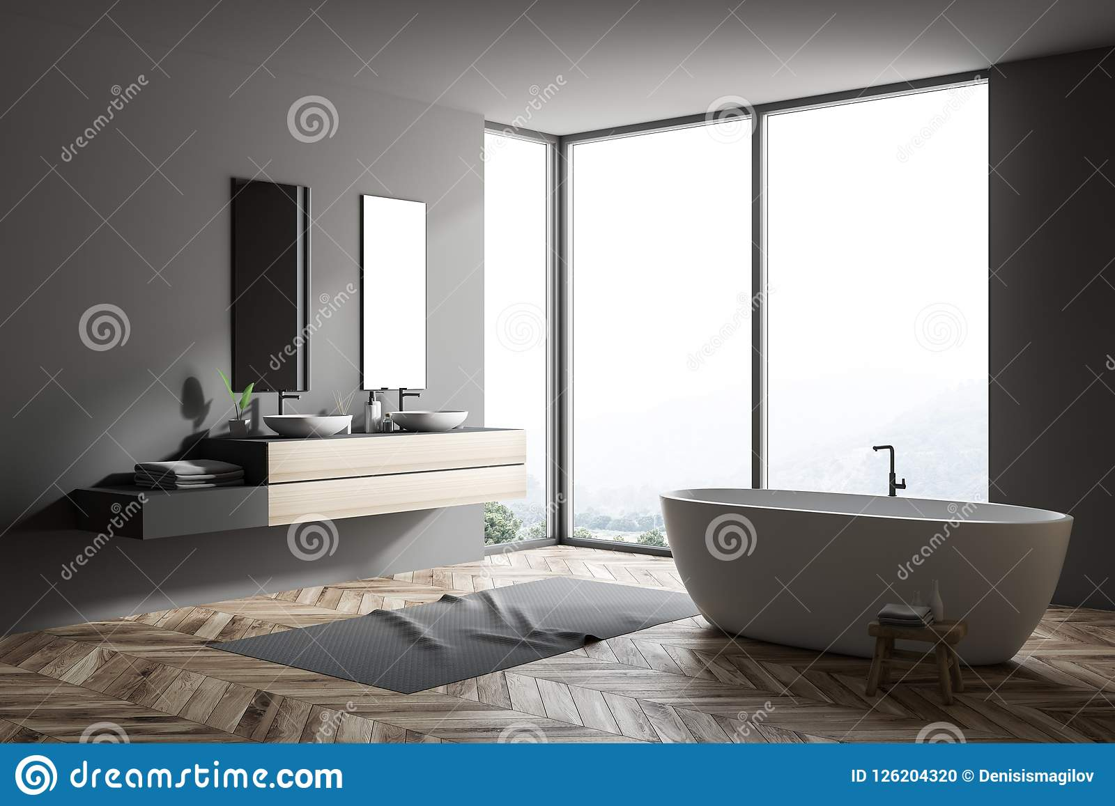 Gray Large Bathroom Corner, Tub And Double Sink Stock Illustration ...