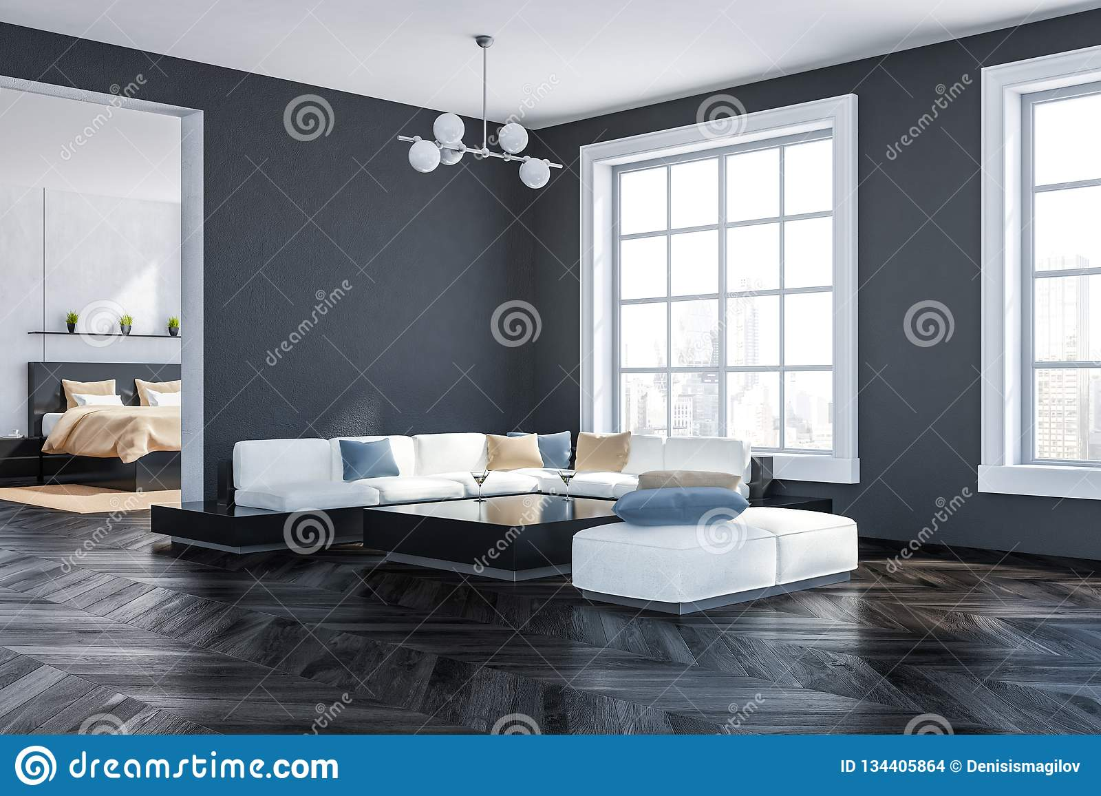 Gray Living Room And Bedroom Corner Stock Illustration