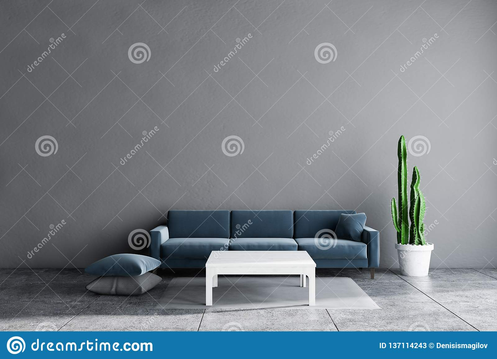 Outstanding Gray Living Room Blue Sofa White Table Stock Illustration Beatyapartments Chair Design Images Beatyapartmentscom