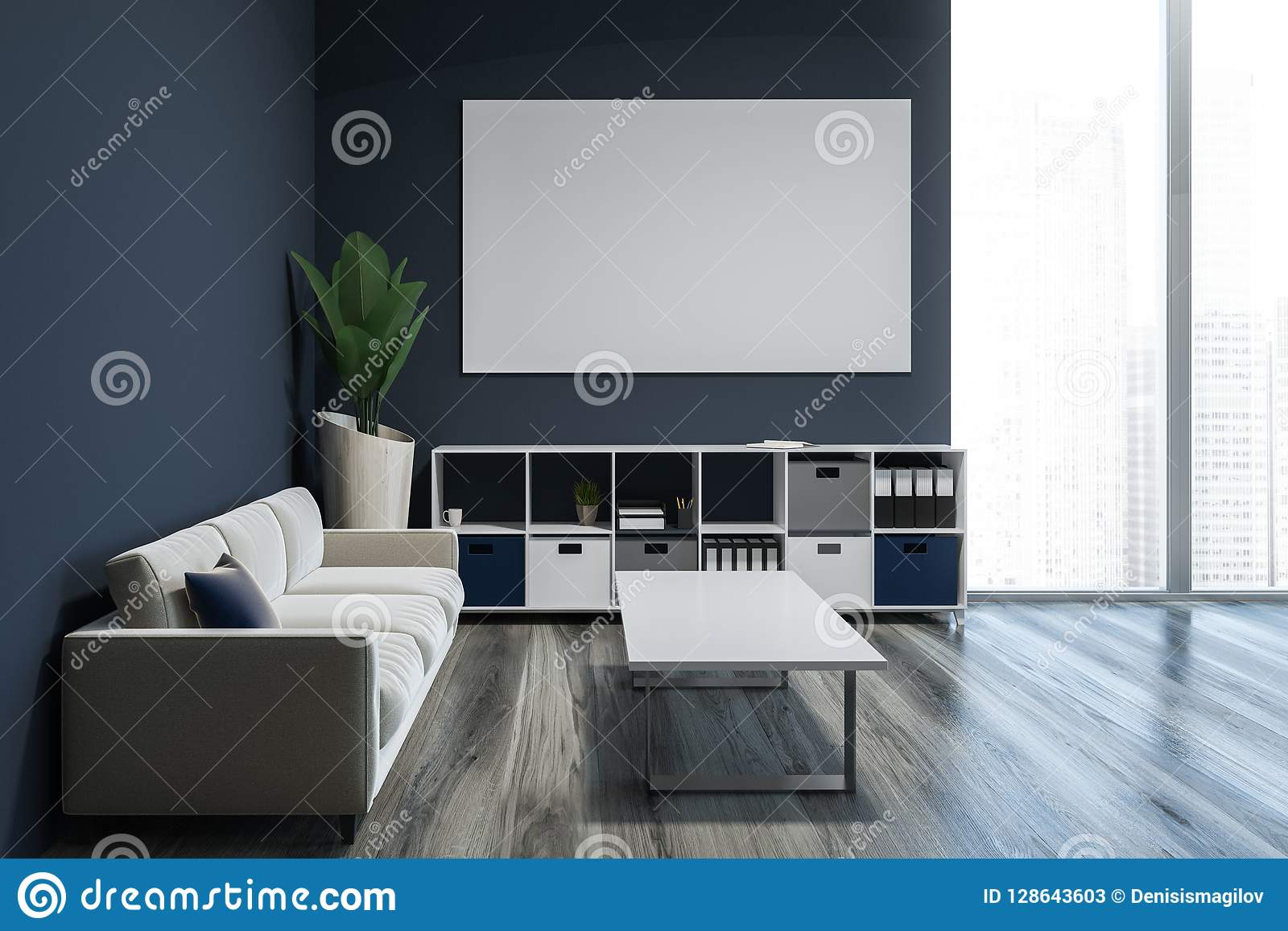 Gray Living Room With Cabinet And Poster Sofa Stock