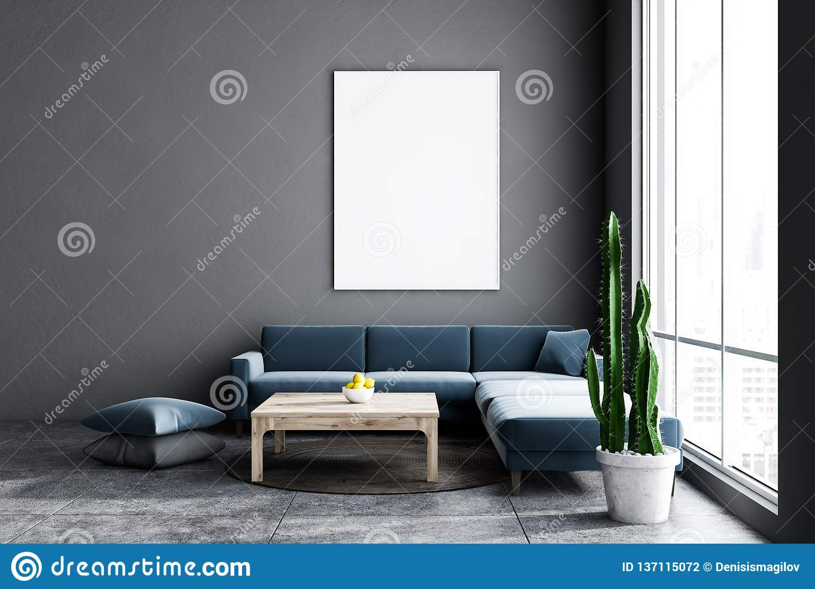 Gray Living Room Dark Blue Sofa And Poster Stock Illustration Illustration Of Lifestyle Home 137115072