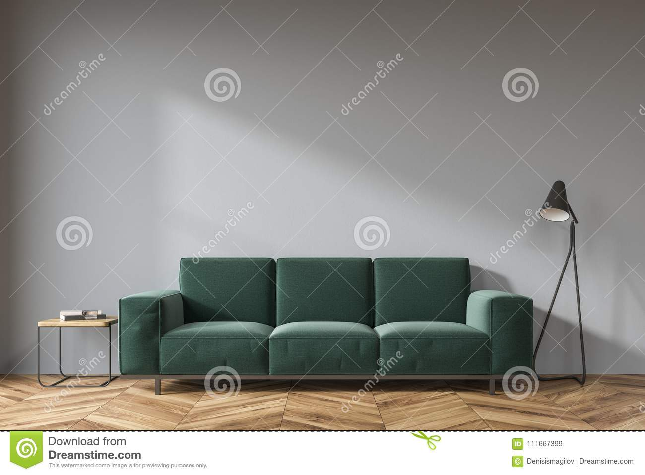 Gray Living Room, Dark Green Sofa Stock Illustration - Illustration ...