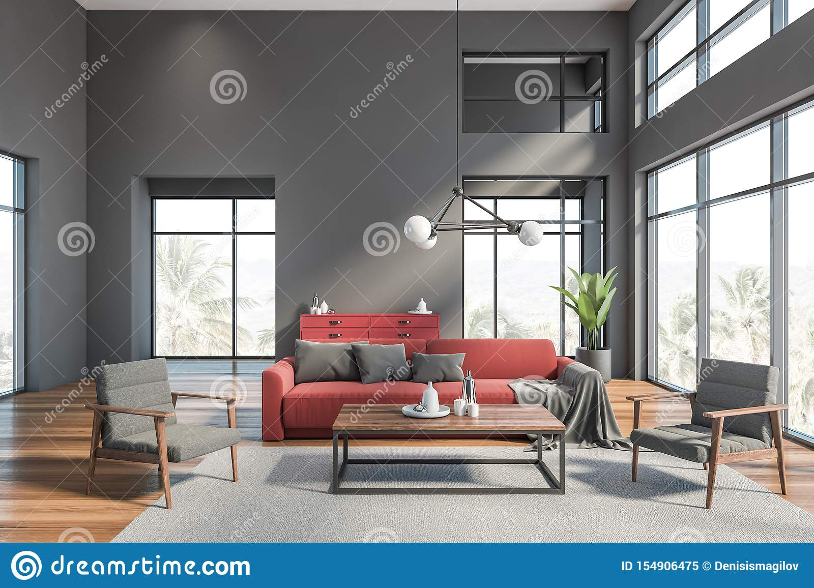 Gray Living Room Interior With Red Sofa Stock Illustration