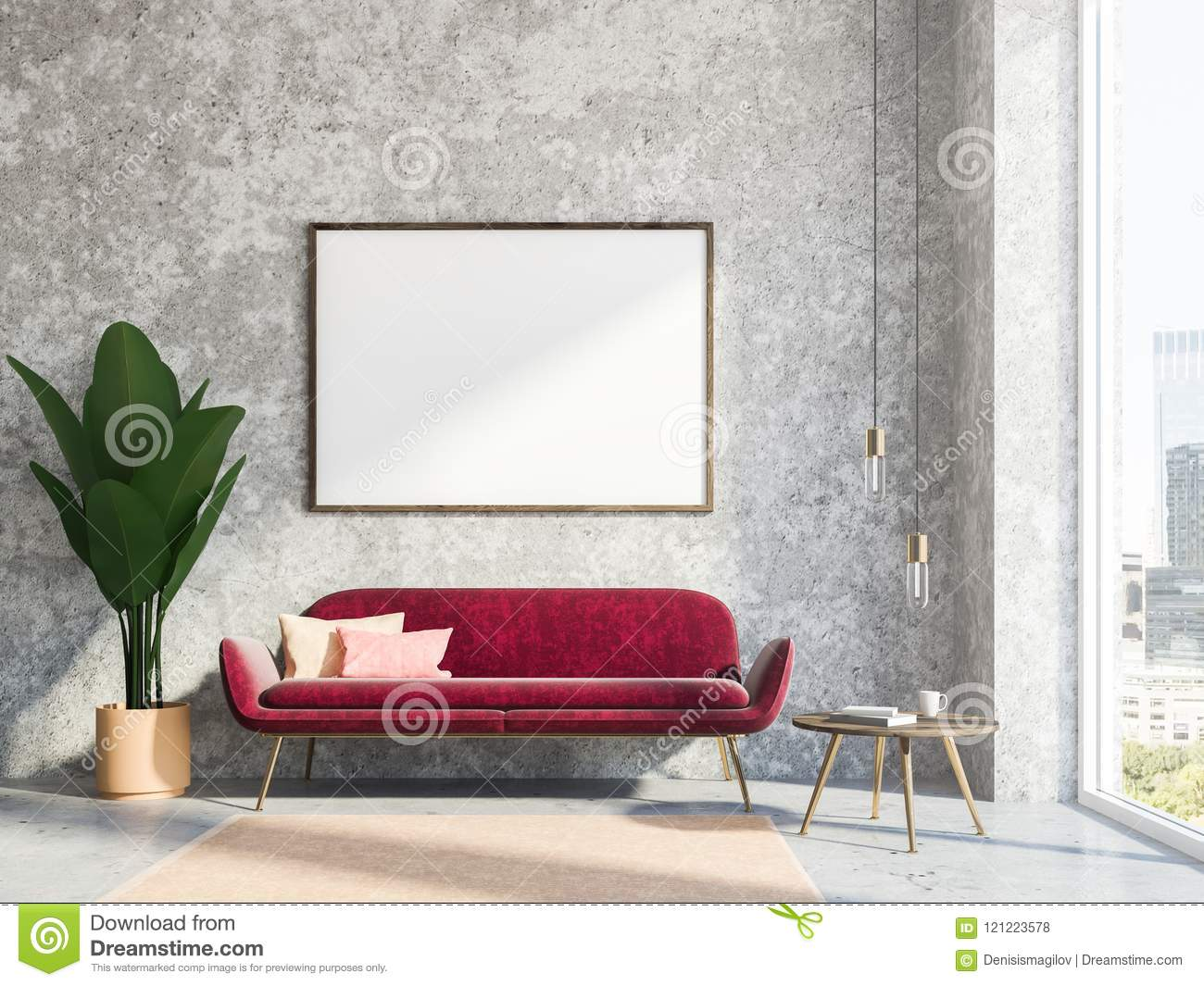 Gray Living Room Interior, Red Sofa, Poster Stock ...