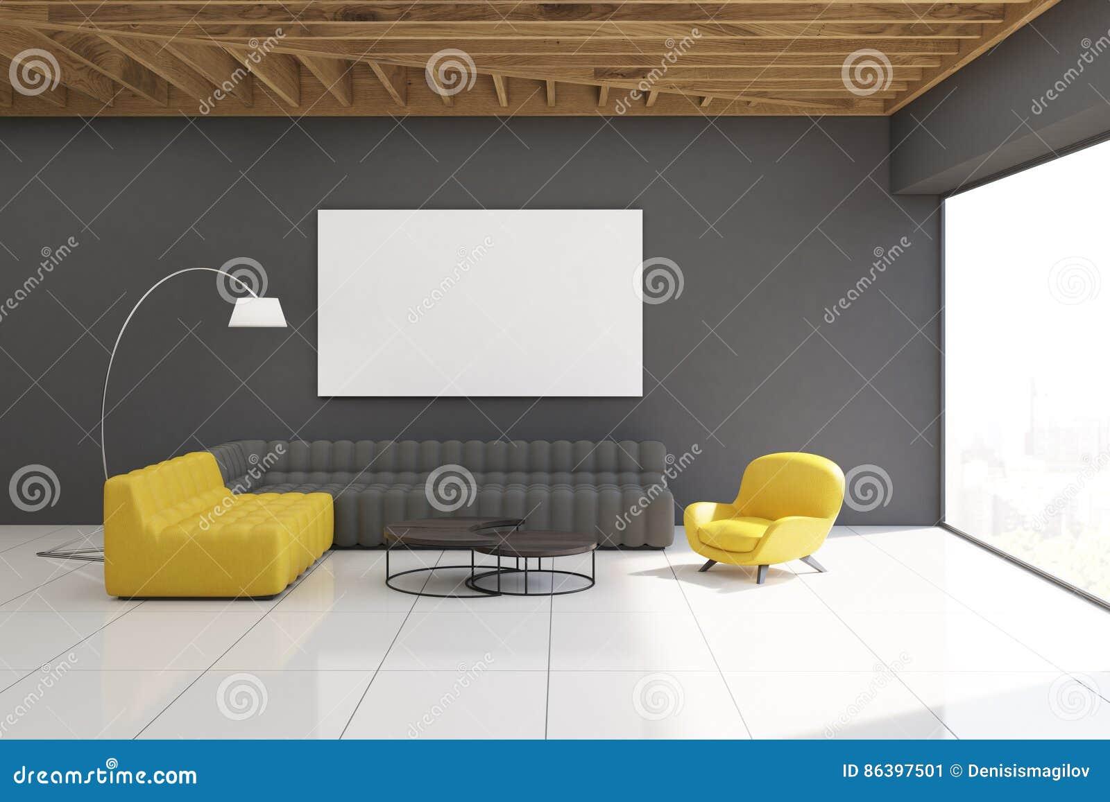 Yellow And Gray Living Room Gray Living Room Interior Stock Illustration Image 86397501