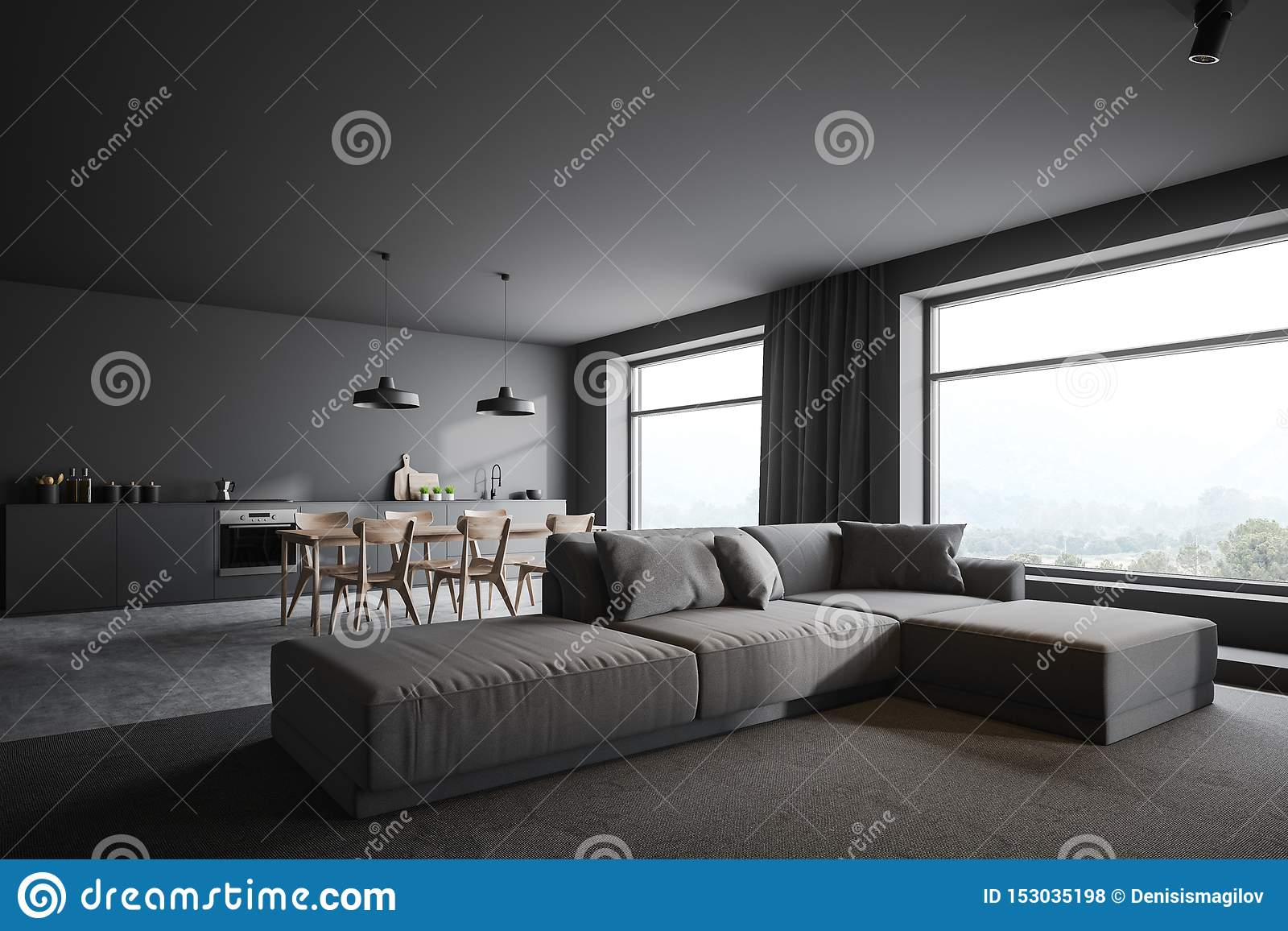 Picture of: Gray Living Room And Kitchen Corner With Windows Stock Illustration Illustration Of Chair Color 153035198