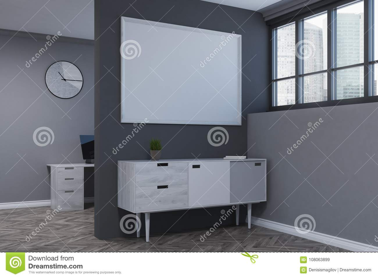 Gray Living Room, Poster, Chest Of Drawers Side