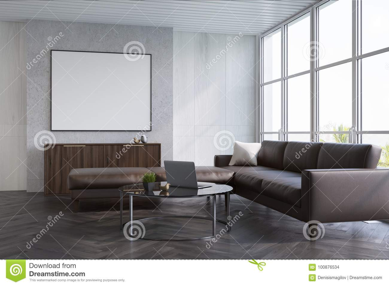 Gray Living Room, Sofa And Poster Stock Illustration - Illustration ...