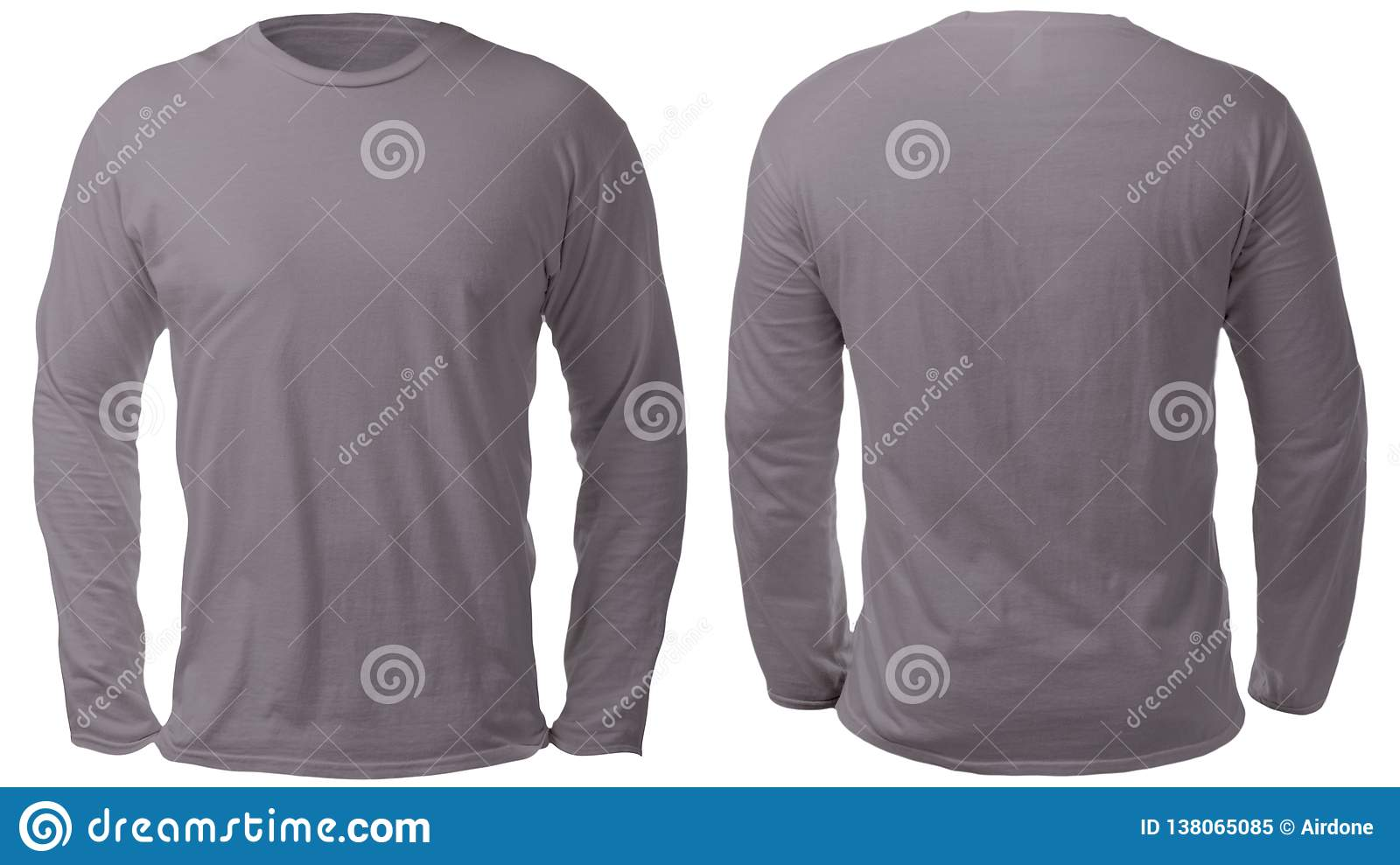 84948a36b070 Blank long sleeved shirt mock up template, front and back view, isolated on  white, plain gray t-shirt mockup. Tee sweater sweatshirt design  presentation for ...