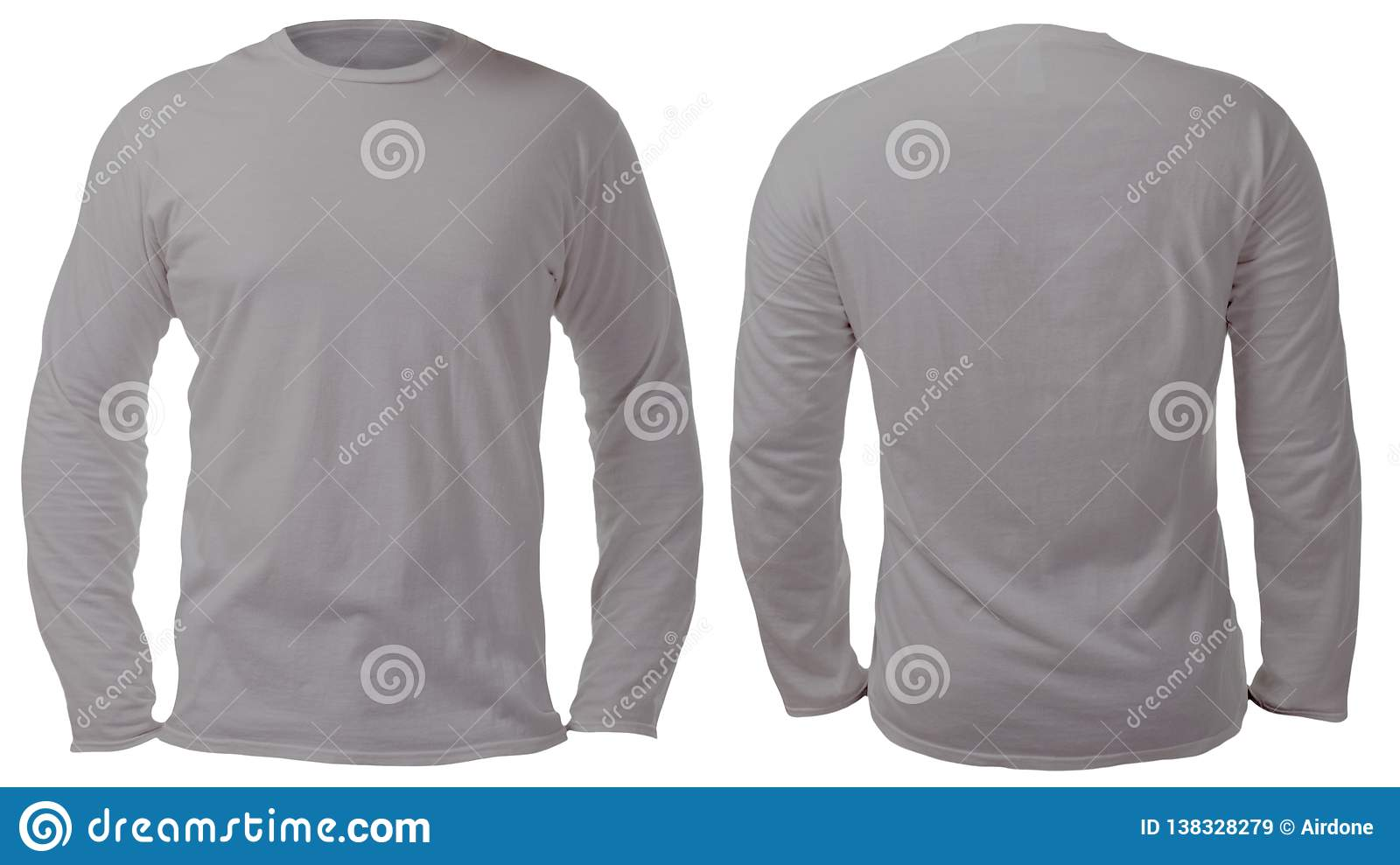 Gray Long Sleeved Shirt Design Template Stock Image Image Of Rear