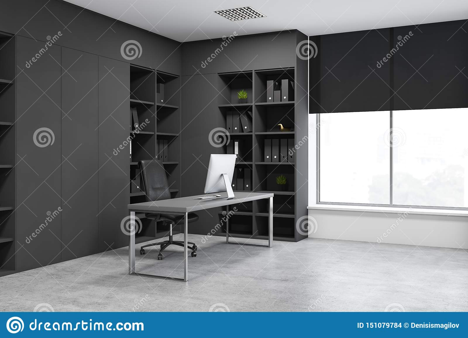 Gray Manager Office Corner With Bookcases Stock Illustration