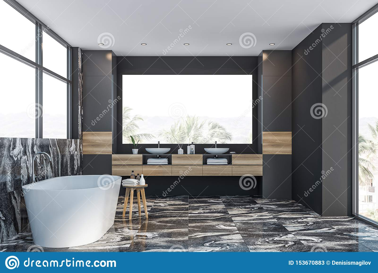 Gray Marble Bathroom Interior Tub And Sink Stock Illustration Illustration Of Marble Counter 153670883
