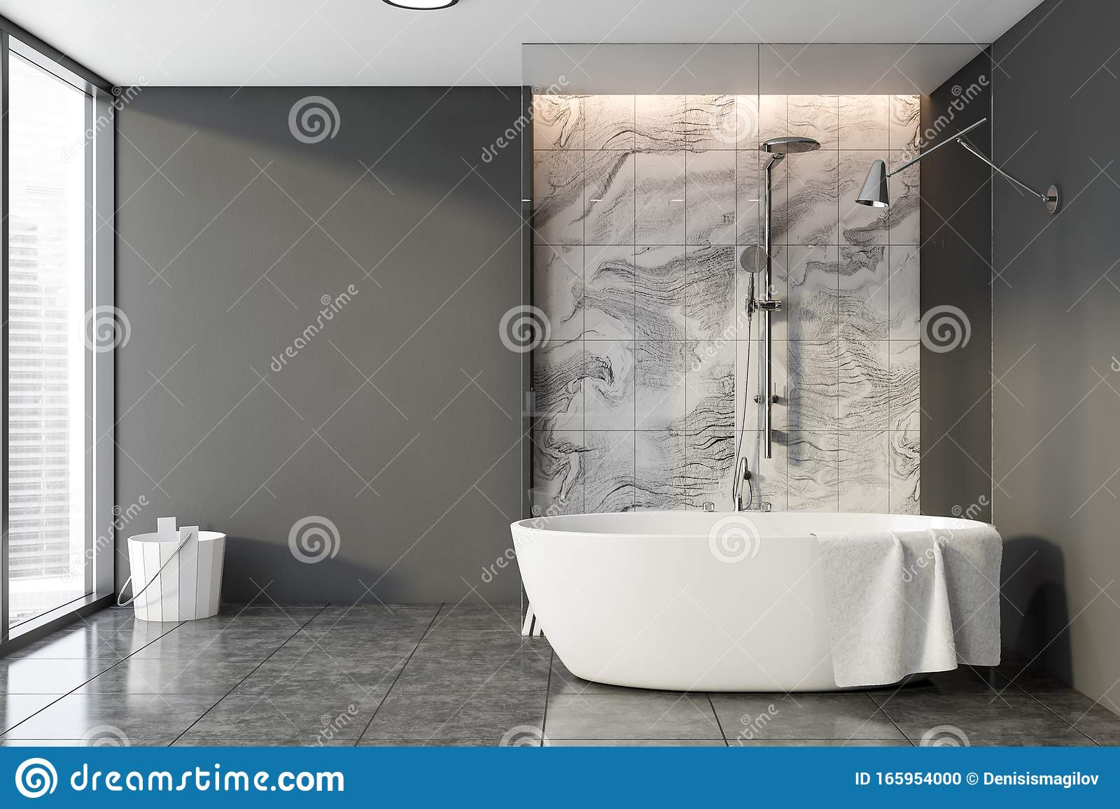 Gray And Marble Bathroom Shower And Tub Stock Illustration Illustration Of Marble Modern 165954000