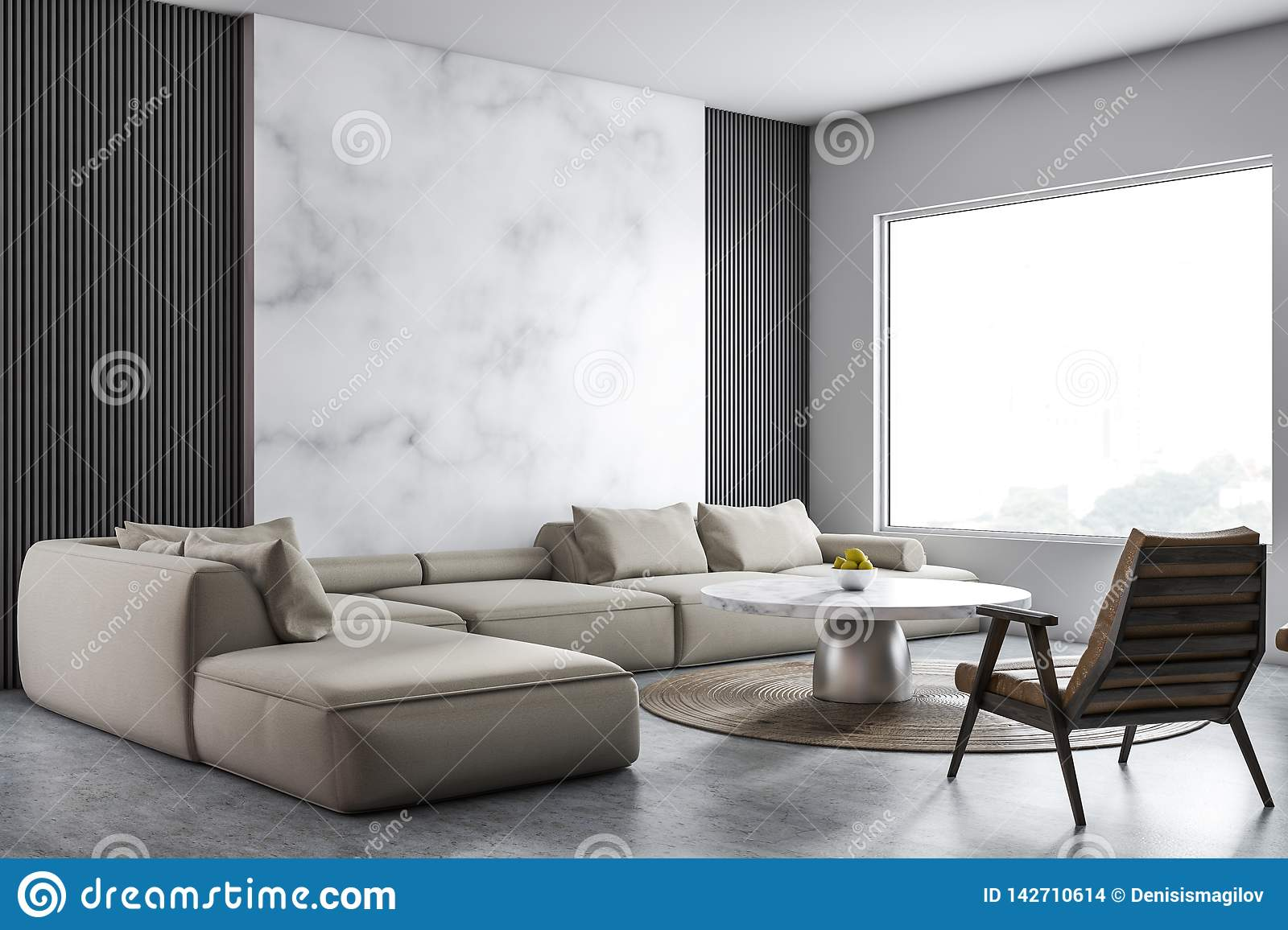 Gray And Marble Living Room Corner Stock Illustration Illustration Of Floor Contemporary 142710614