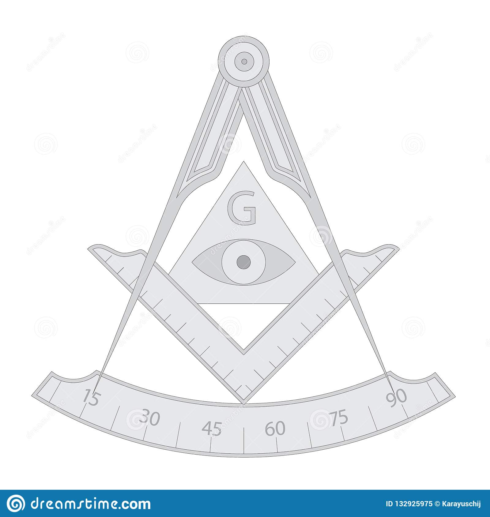 Gray Masonic Square And Compass Symbol Stock Vector